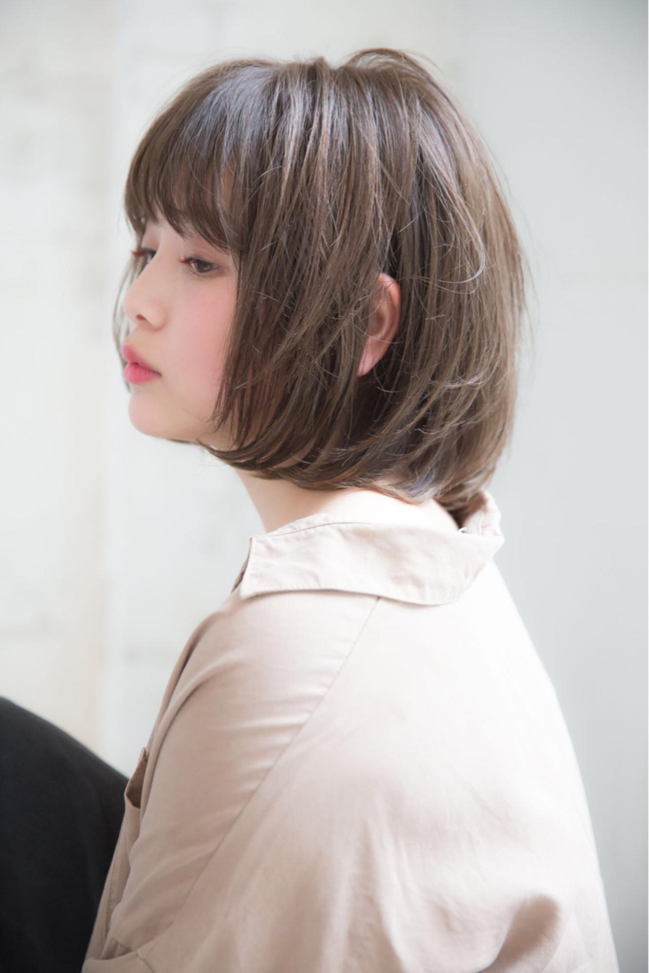 ボブ 前髪あり 色気 ナチュラル ヘアスタイルや髪型の写真・画像 | 浦野 陽介 / free-lance