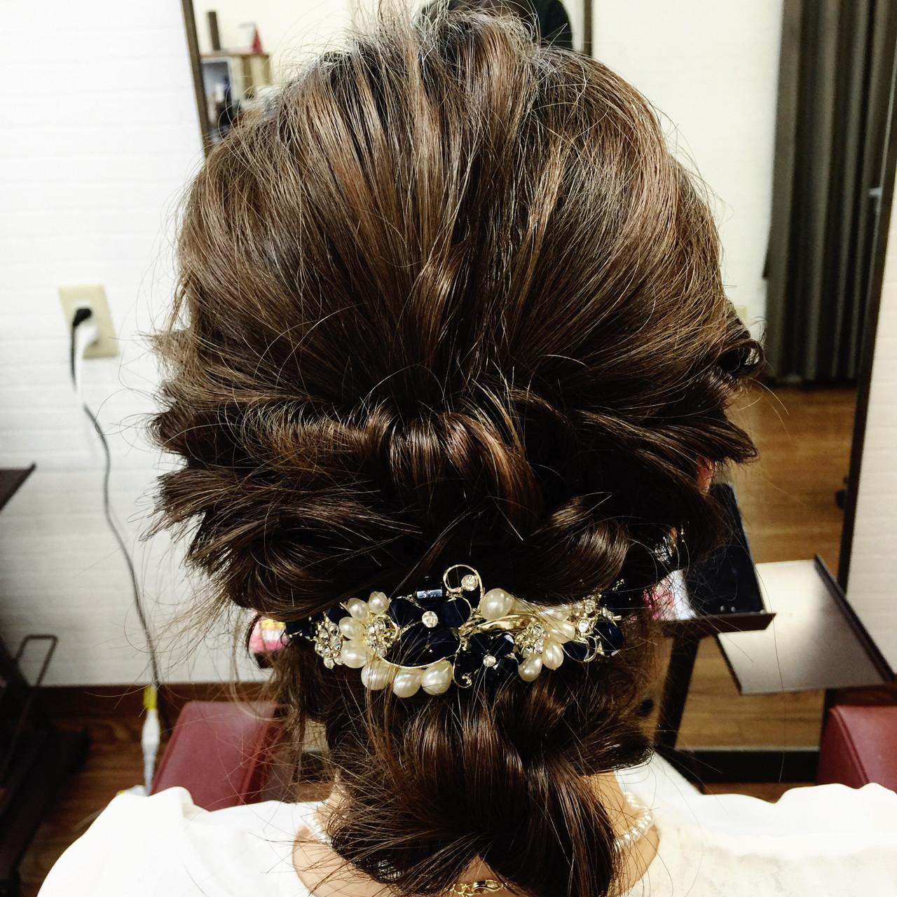 ヘアアレンジ 結婚式 ゆるふわ フェミニン ヘアスタイルや髪型の写真・画像   Takumi / giraffe beauty****