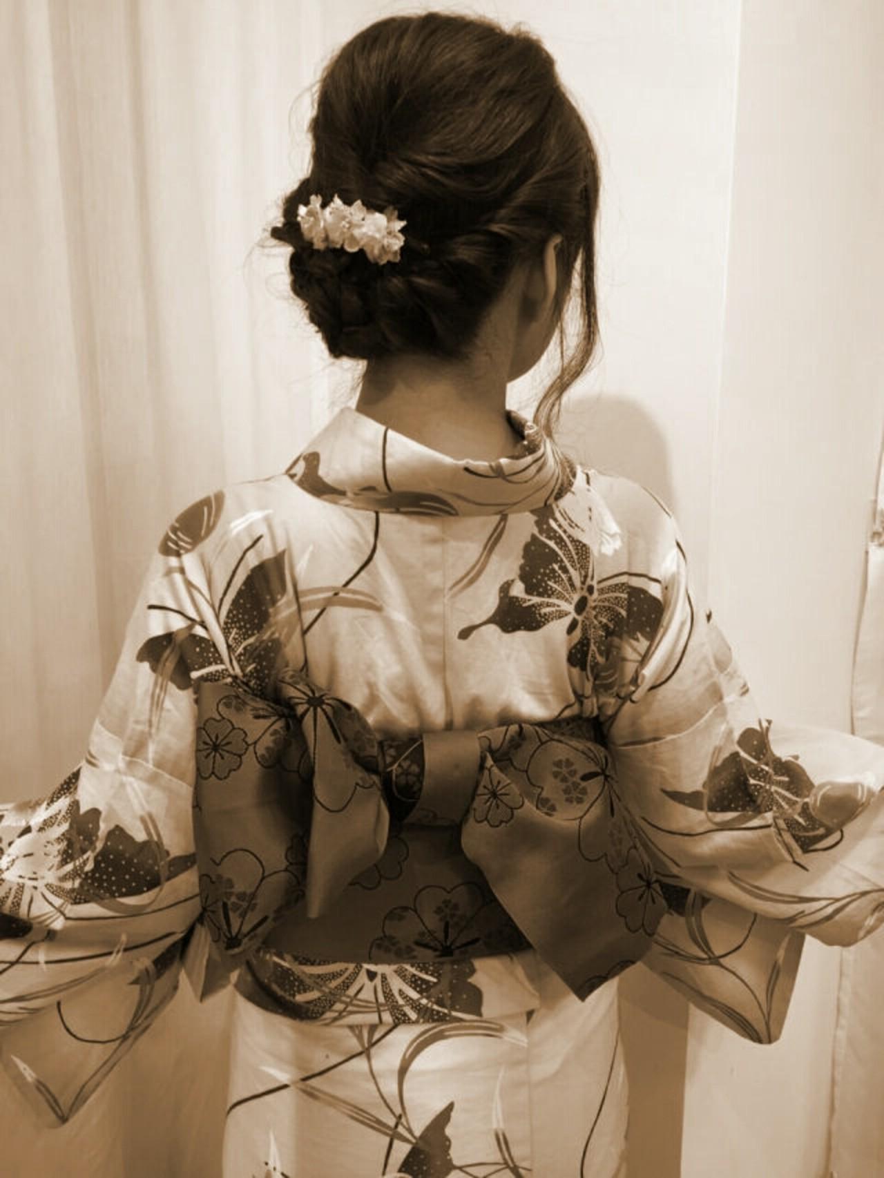 お祭り 花火大会 夏 ゆるふわ ヘアスタイルや髪型の写真・画像 | やす(やすこ) /
