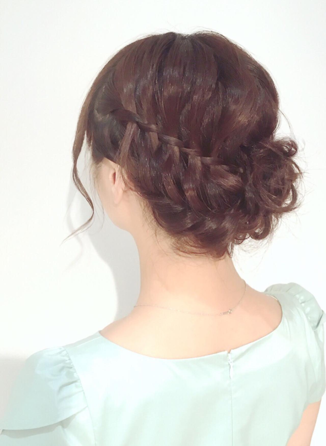 二次会 ヘアアレンジ 編み込み アップスタイル ヘアスタイルや髪型の写真・画像 | mayo / M.SLASH センター南