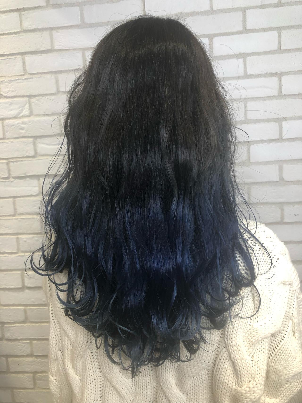 ロング ブルー モード ハイライト ヘアスタイルや髪型の写真・画像 | 佐藤高徳 / RAFTOKYO