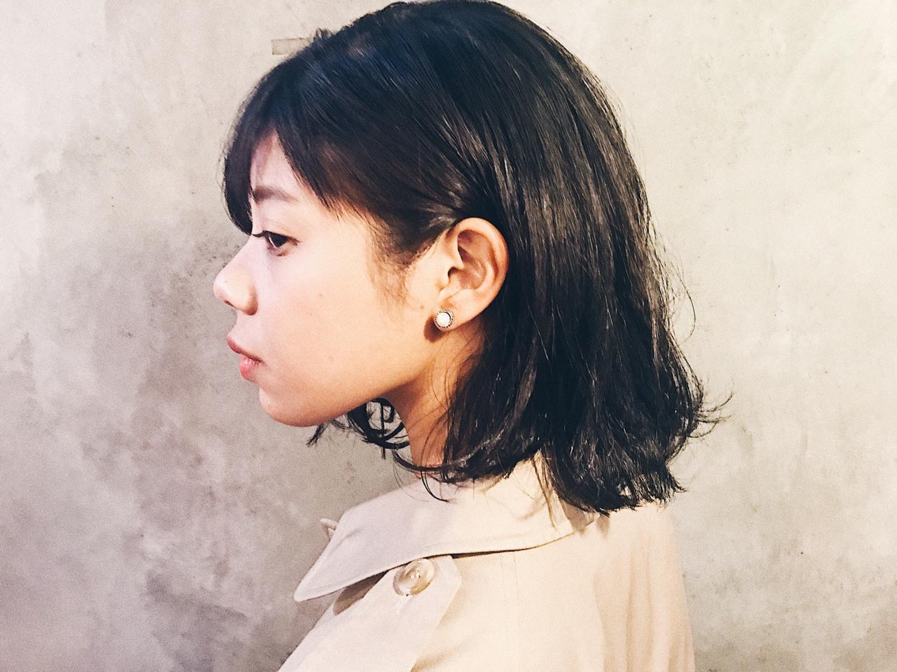 切りっぱなし 大人女子 ウェットヘア ボブ ヘアスタイルや髪型の写真・画像 | 木藤裕作 / temae