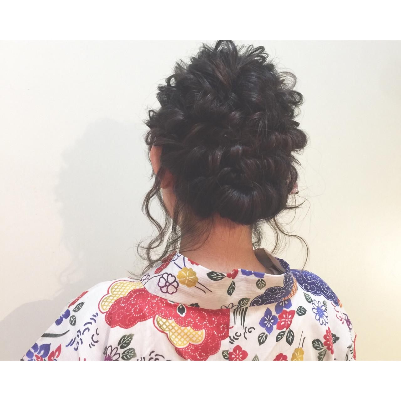 まとめ髪 編み込み 花火大会 セミロングヘアスタイルや髪型の写真・画像