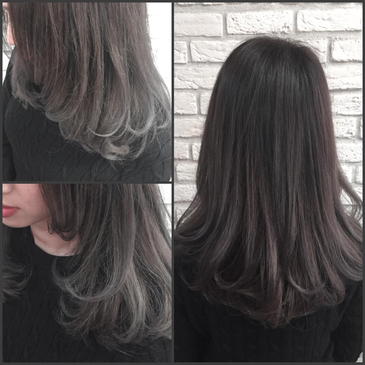 ストリート イルミナカラー グラデーションカラー アッシュヘアスタイルや髪型の写真・画像