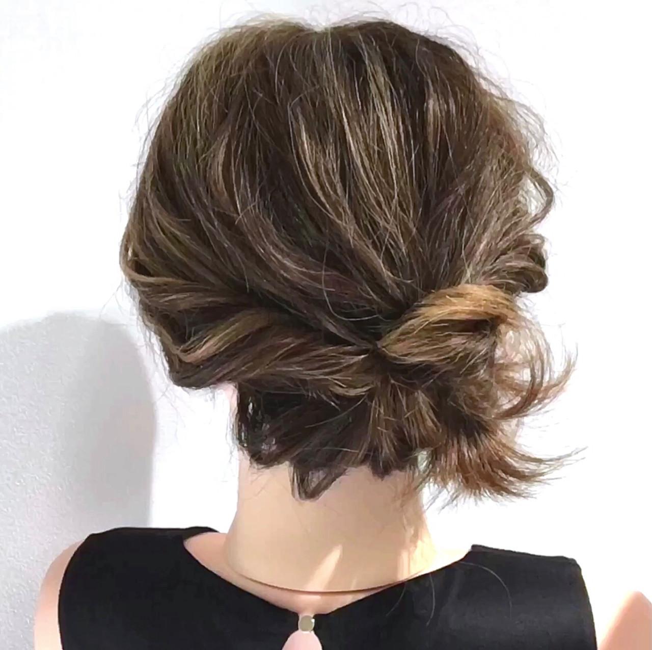 ヘアアレンジ 簡単ヘアアレンジ セルフアレンジ くるりんぱヘアスタイルや髪型の写真・画像