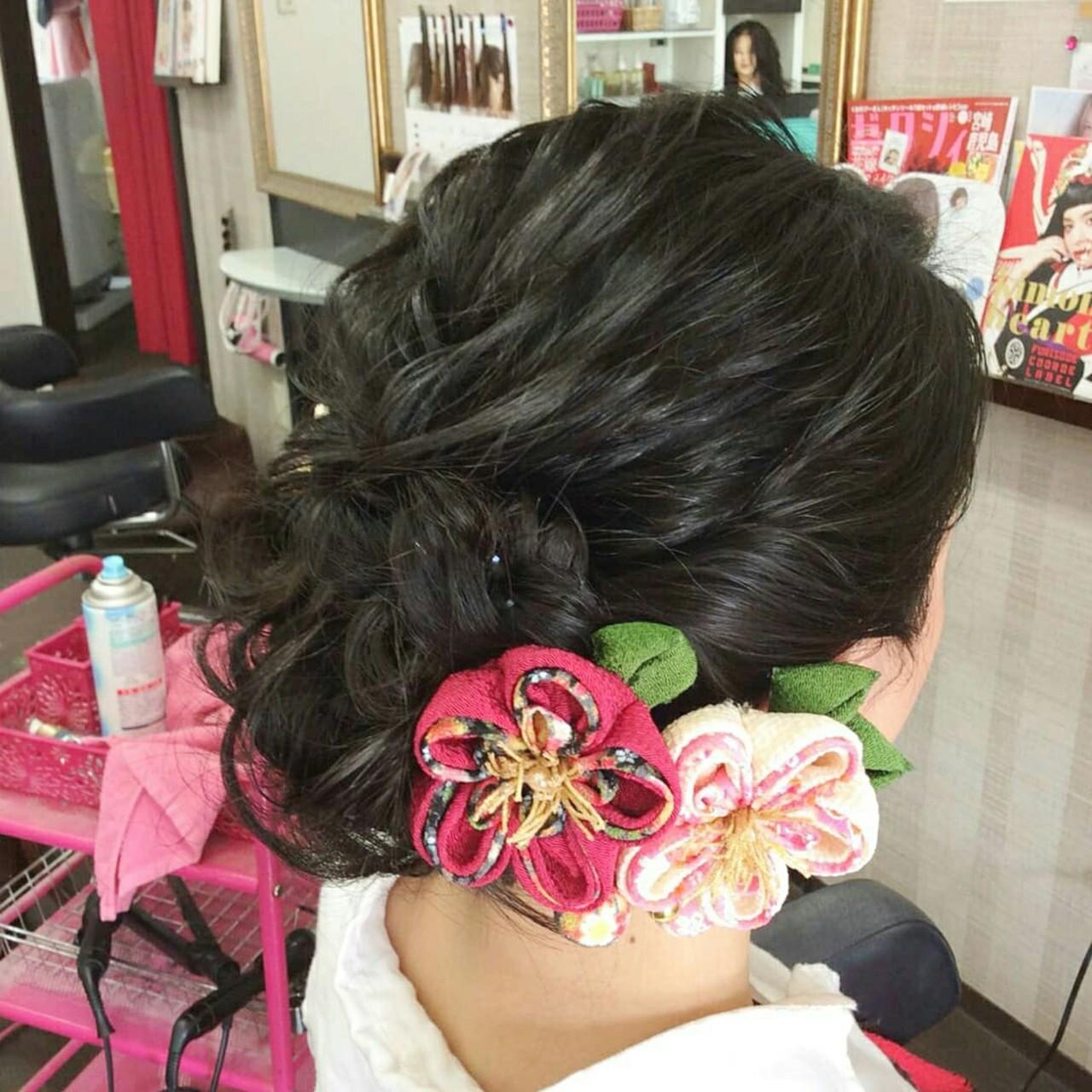 着物 ヘアアレンジ セミロング エレガントヘアスタイルや髪型の写真・画像