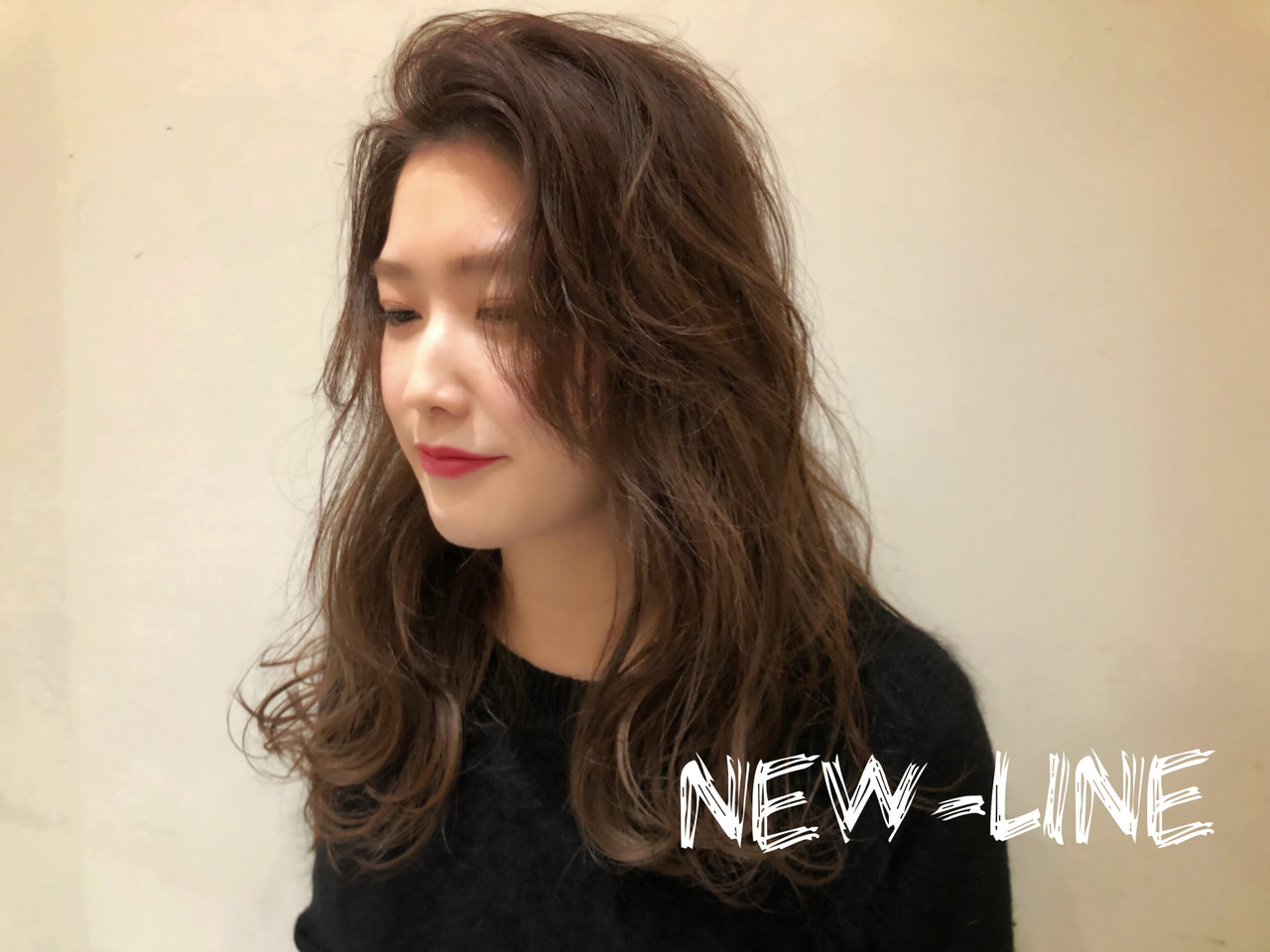 波ウェーブ セミロング ひし形 ストリート ヘアスタイルや髪型の写真・画像   YUKA / NEWLINE