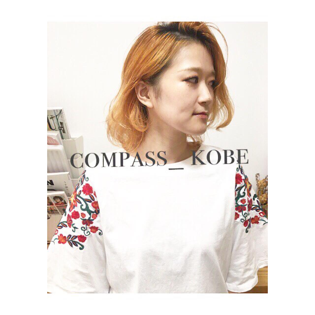 ワイドバング ボブ 外ハネ こなれ感 ヘアスタイルや髪型の写真・画像 | COM PASS 太一 / COM PASS
