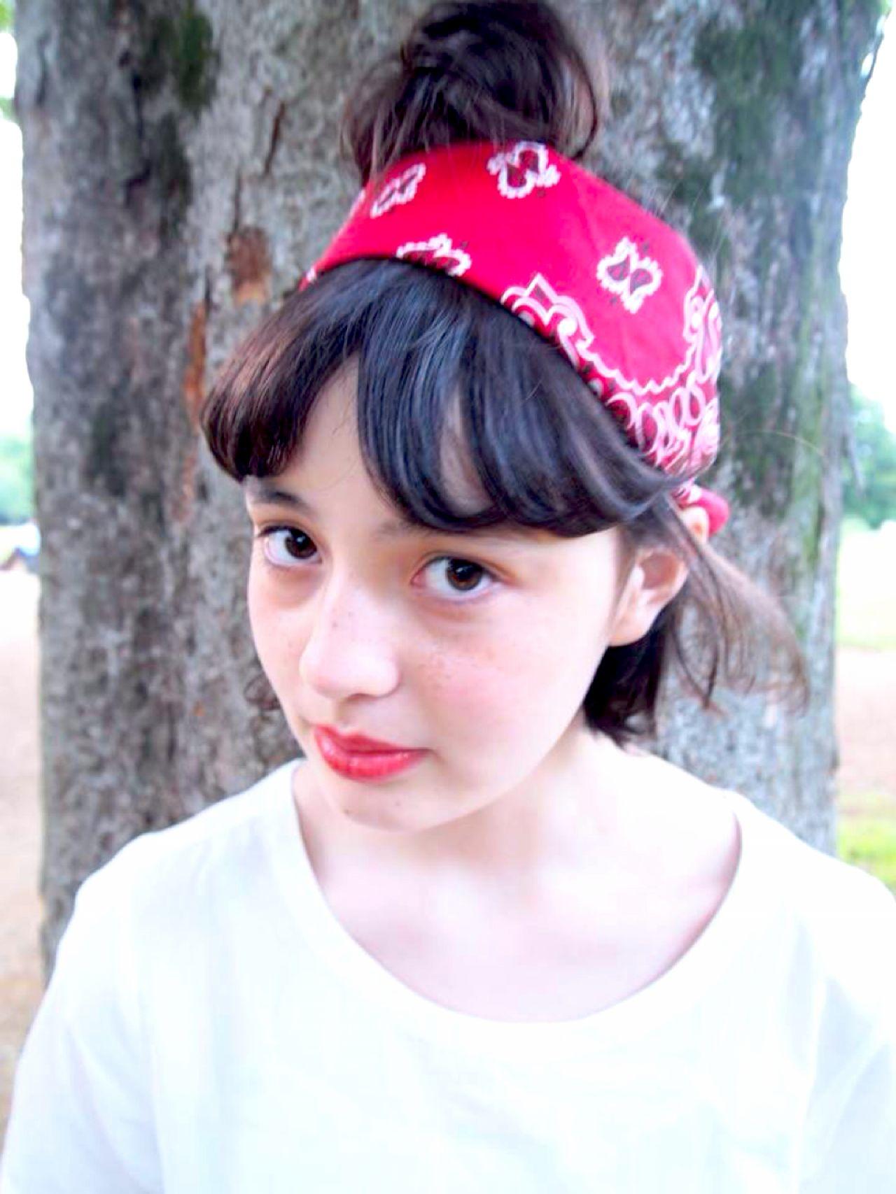 ヘアアレンジ ガーリー バンダナヘアスタイルや髪型の写真・画像
