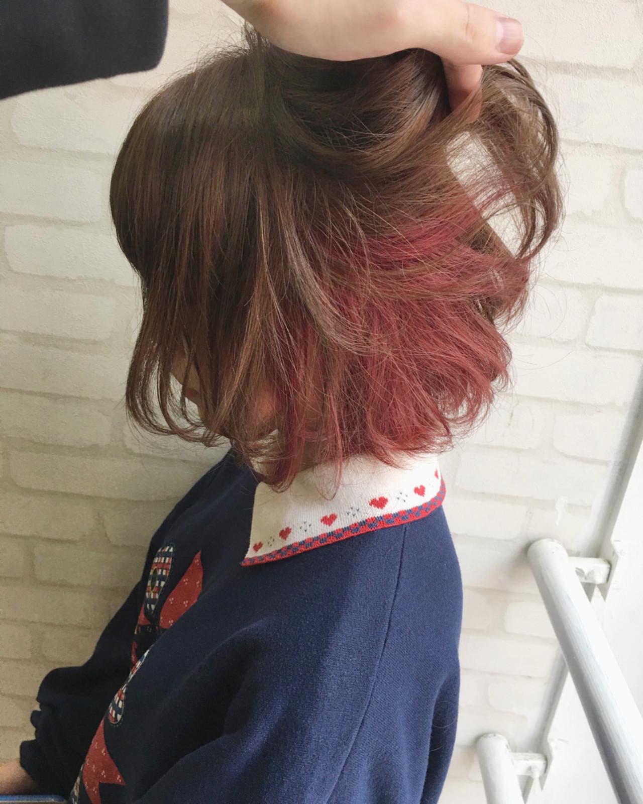 ボブ ミルクティー ヘアアレンジ フェミニンヘアスタイルや髪型の写真・画像