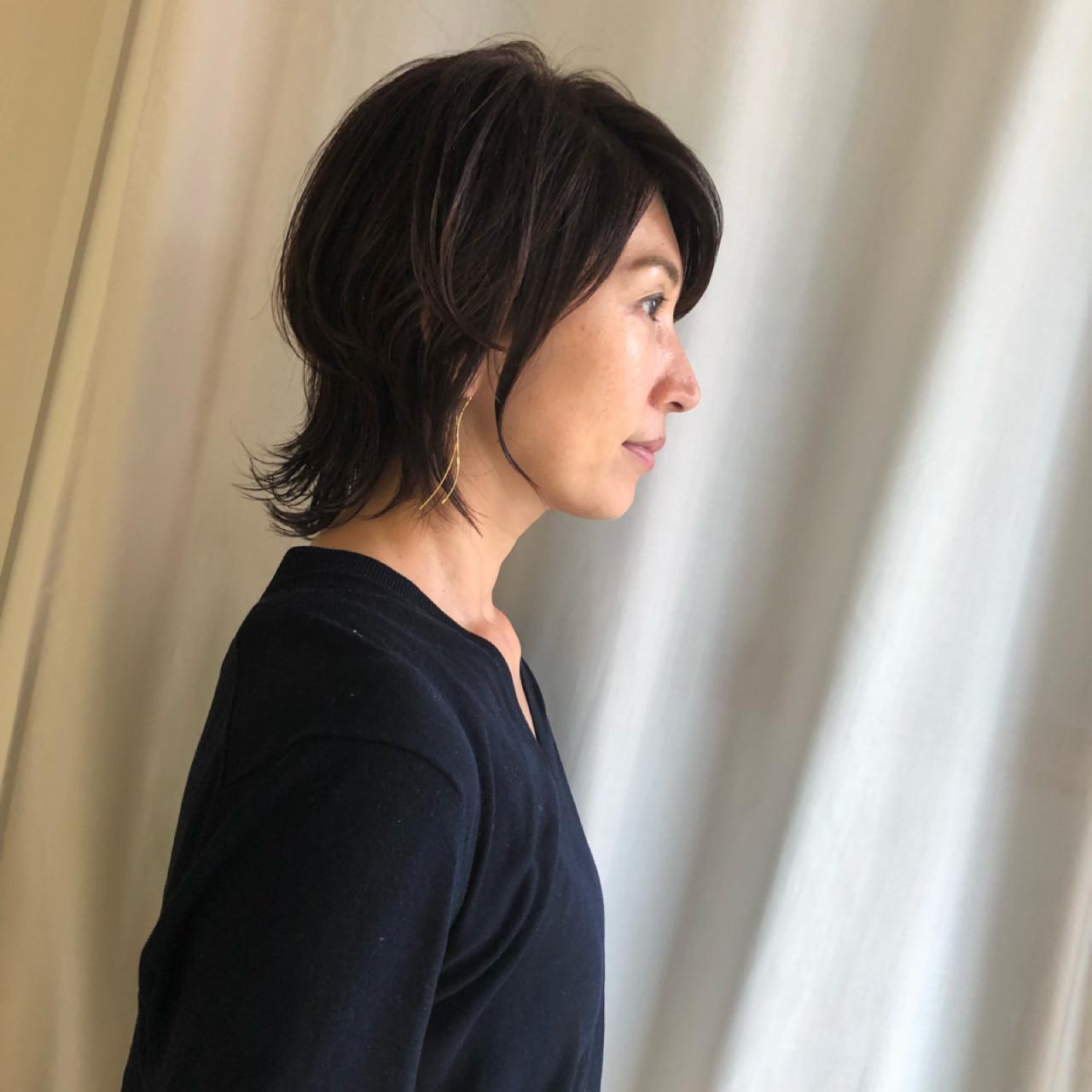 コンサバ ショート 40代 エレガンス ヘアスタイルや髪型の写真・画像 | 岩城 浩子 / figue hair