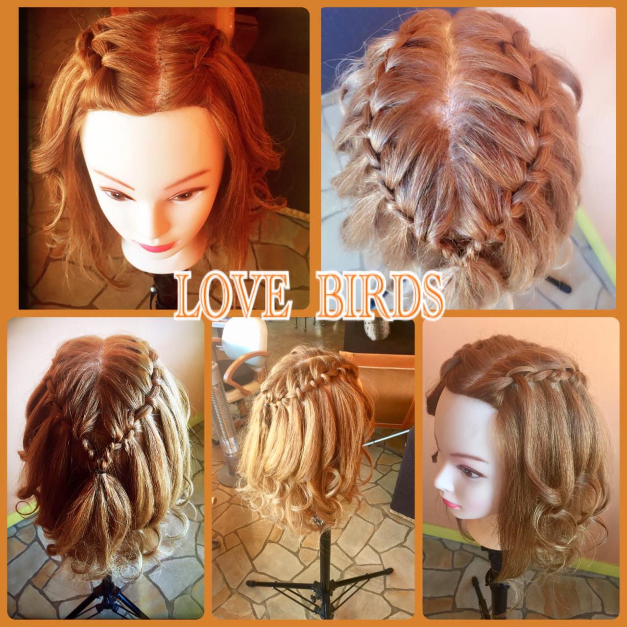 編み込み セミロング ハーフアップ 簡単ヘアアレンジ ヘアスタイルや髪型の写真・画像 | 門脇 トオル / Hair&Make  LOVE BIRDS