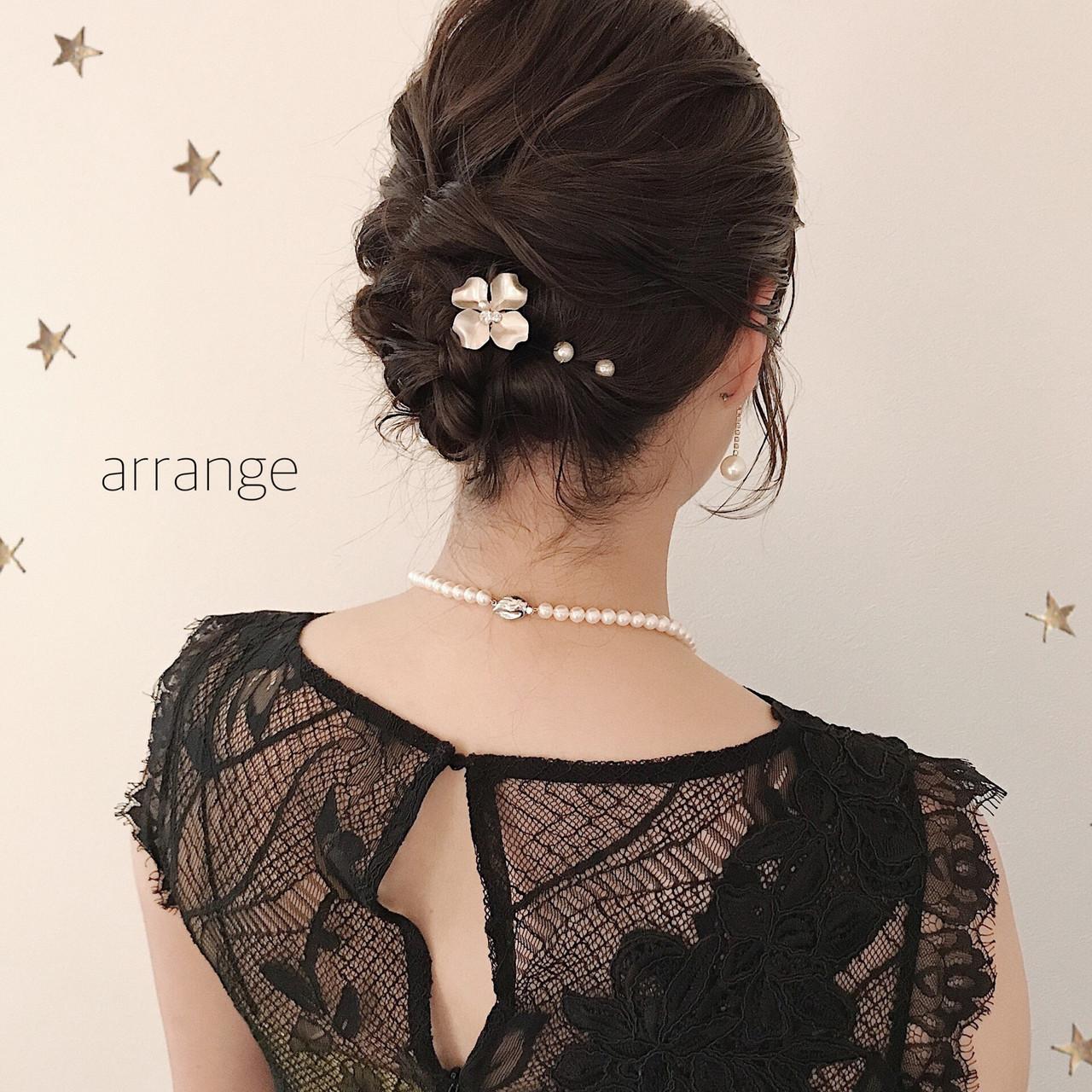ナチュラル ヘアアレンジ ミディアム 結婚式ヘアアレンジ ヘアスタイルや髪型の写真・画像