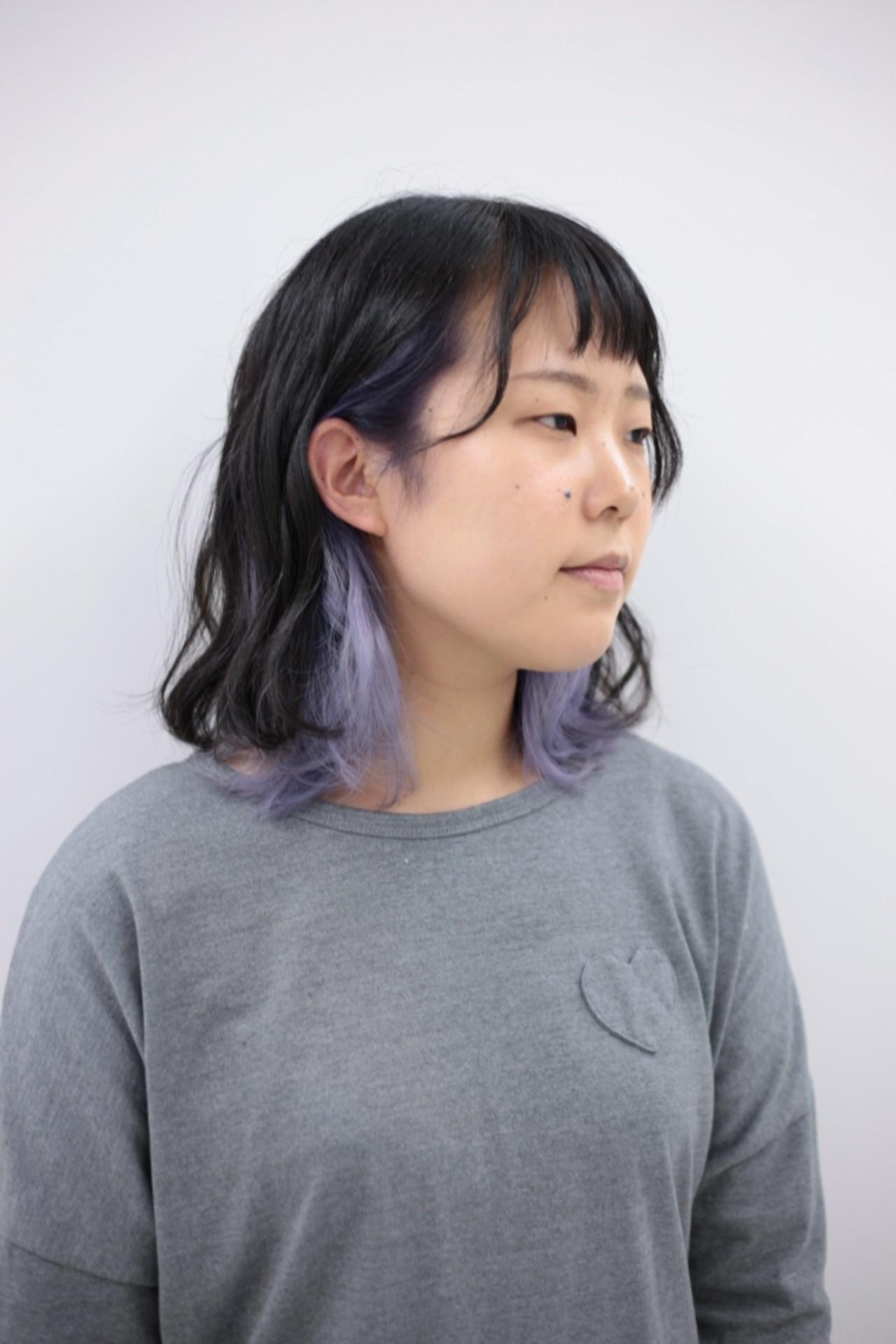 ミディアム ブリーチ ストリート ラベンダー ヘアスタイルや髪型の写真・画像 | kanata / CLLN hair design