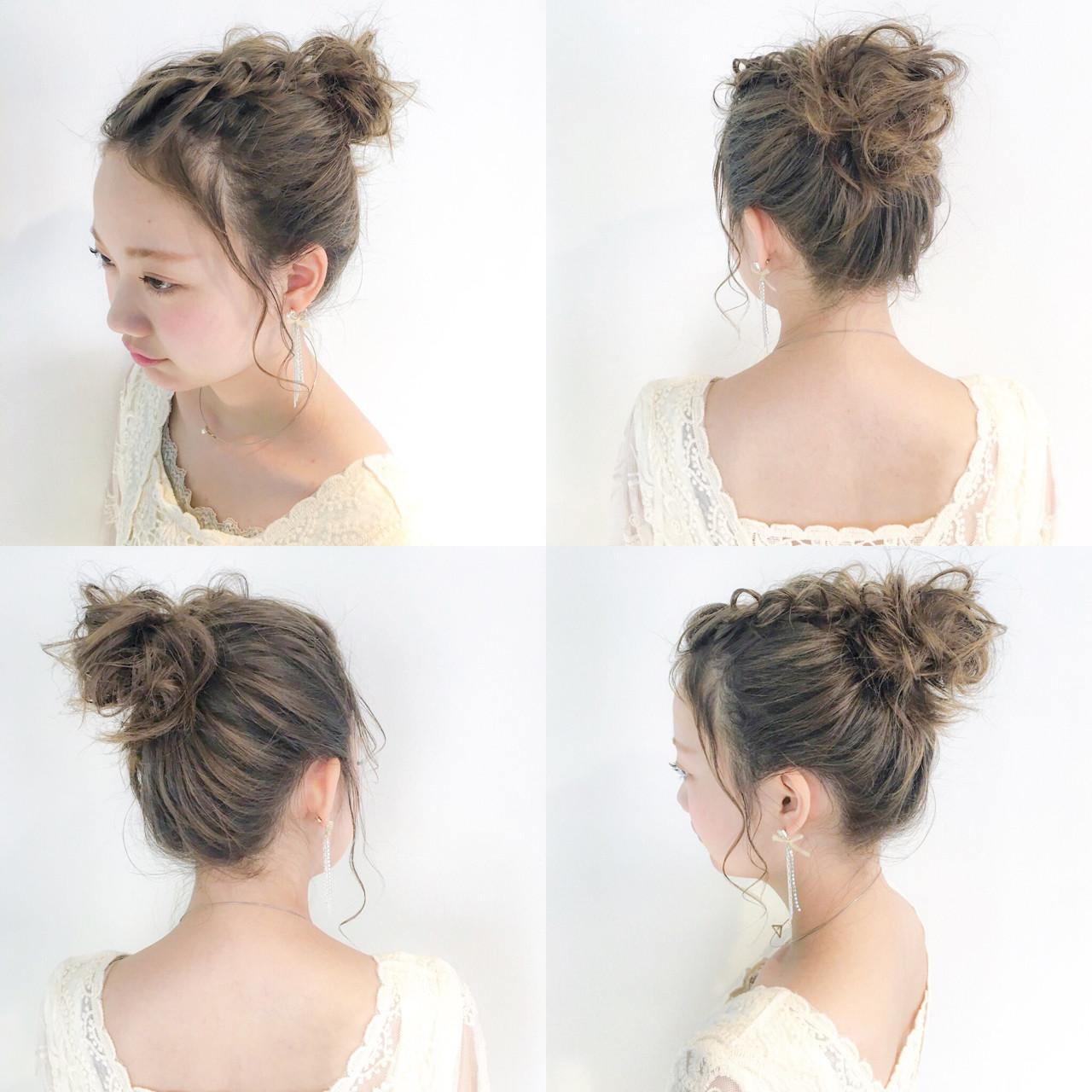 アウトドア セミロング 女子会 お団子ヘアスタイルや髪型の写真・画像