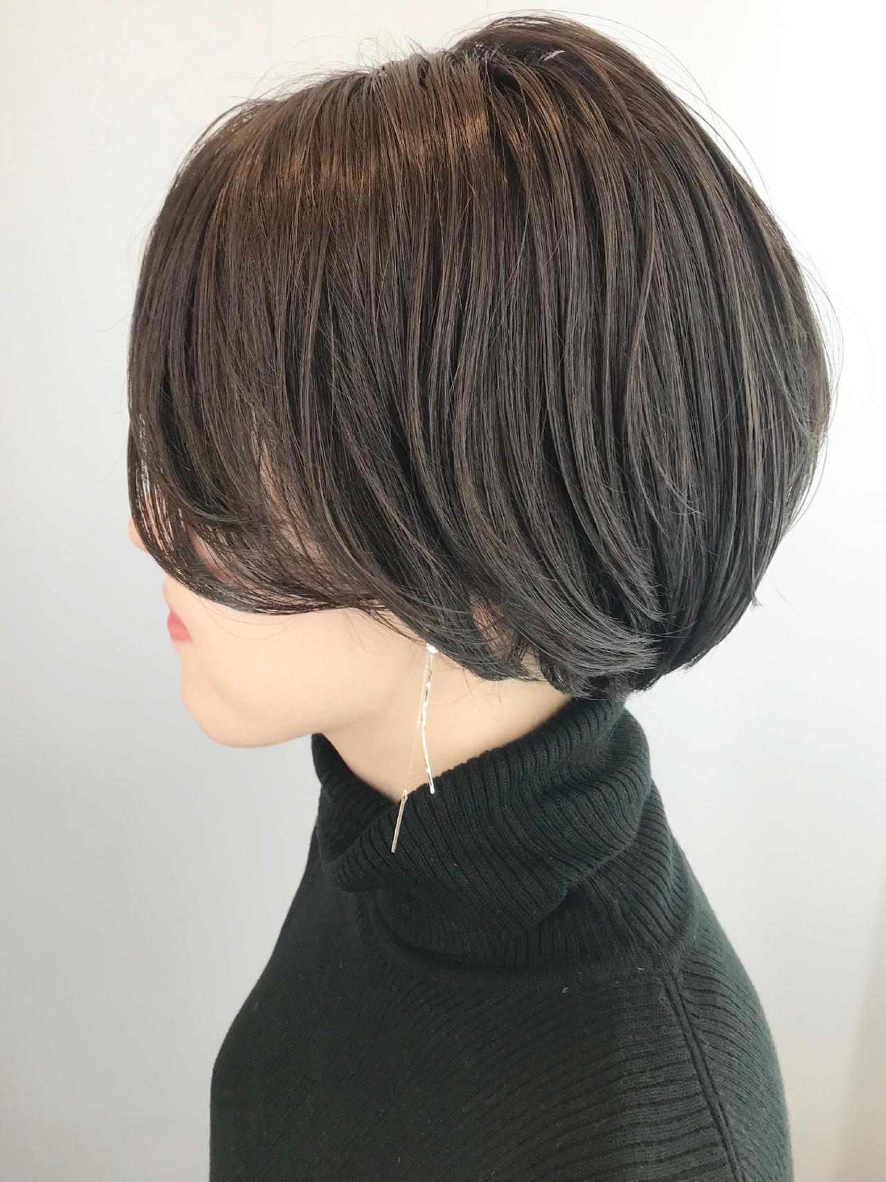 ショート ナチュラル オフィス ハンサムショート ヘアスタイルや髪型の写真・画像 | Hiroさん / H+by Airsalon