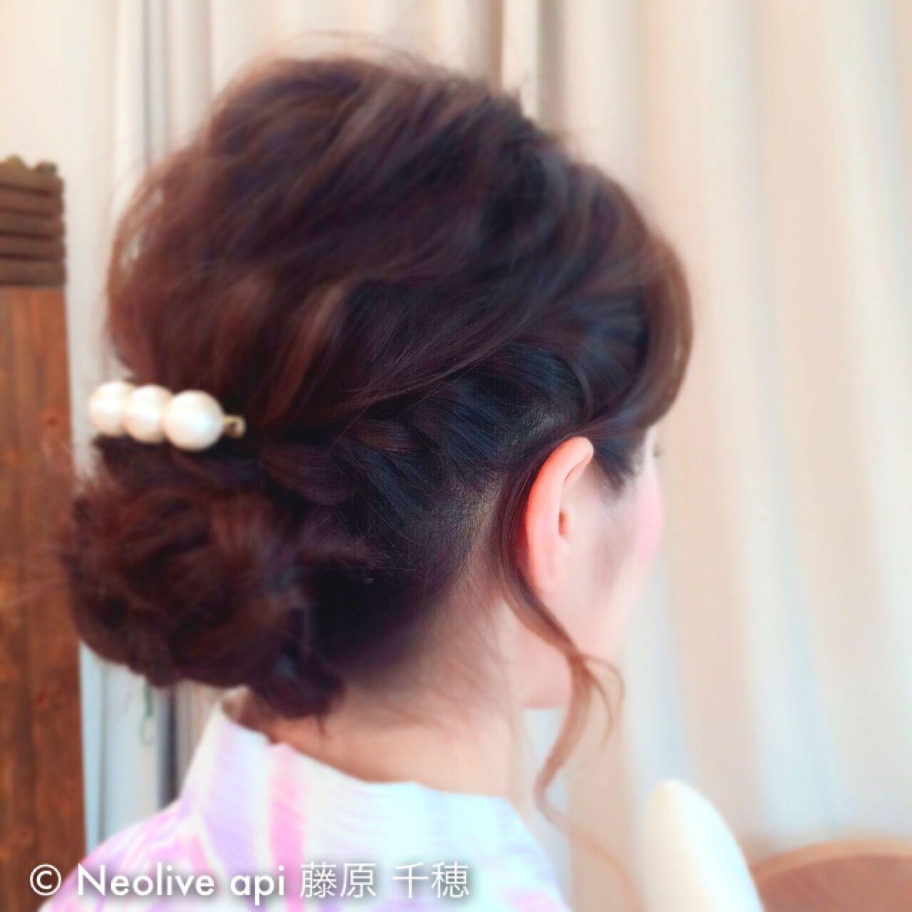 ヘアアレンジ ミディアム 夏 和装ヘアスタイルや髪型の写真・画像