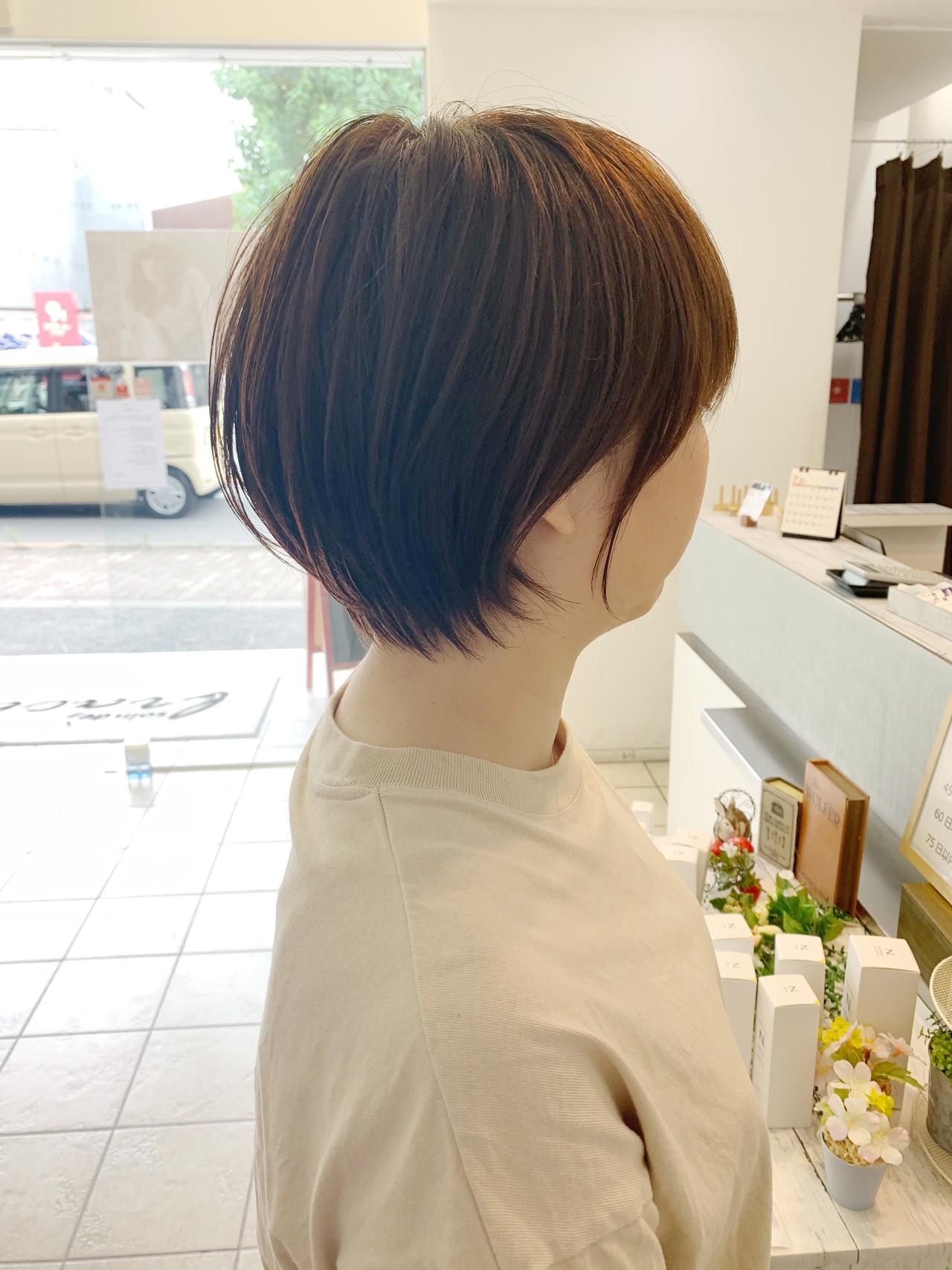 ミニボブ ショート ショートヘア 切りっぱなしボブ ヘアスタイルや髪型の写真・画像 | 石田純一 / brace上新庄店
