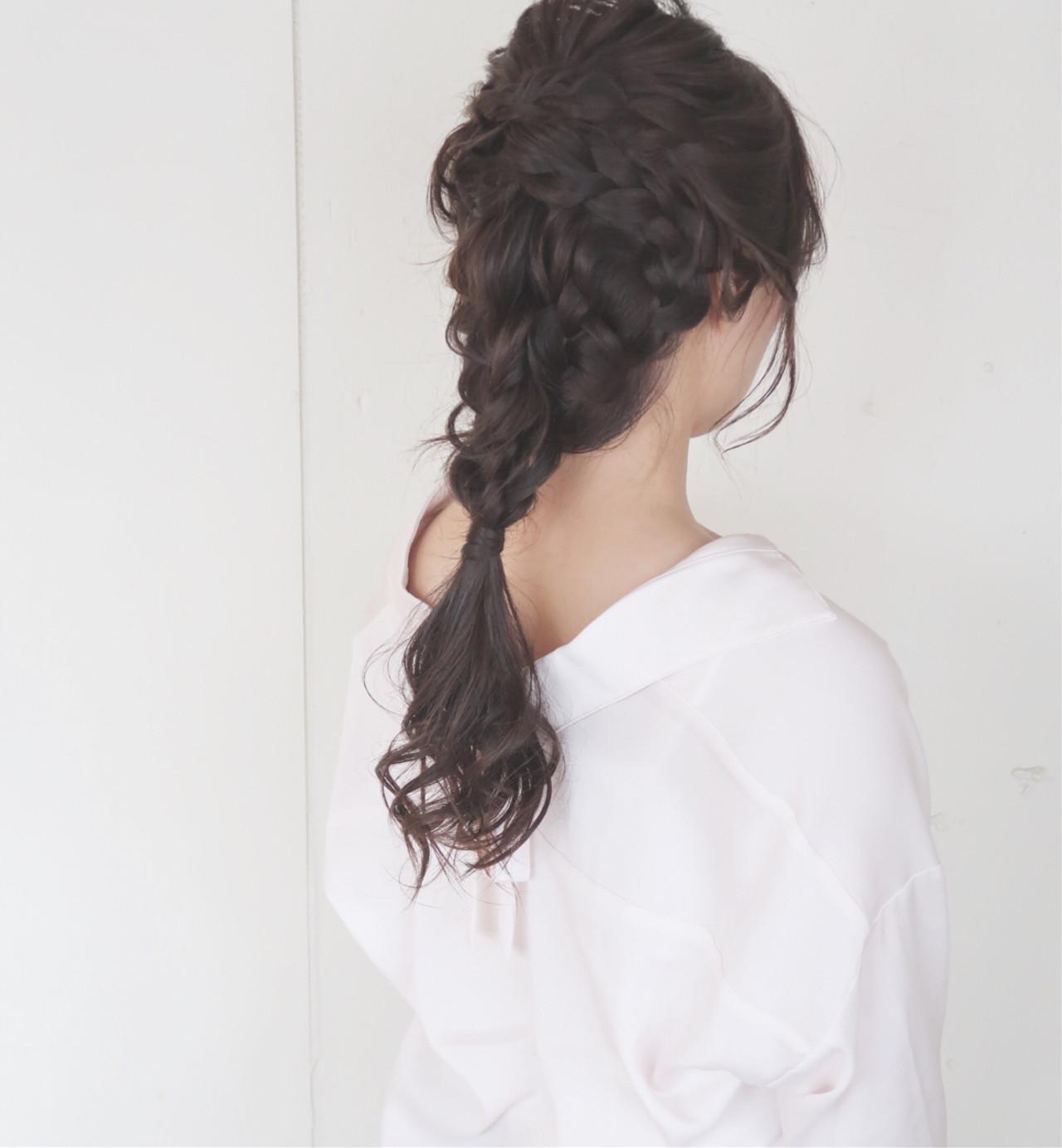 編み込み ヘアアレンジ 女子会 大人かわいい ヘアスタイルや髪型の写真・画像   平川 元気 / MAPUNA
