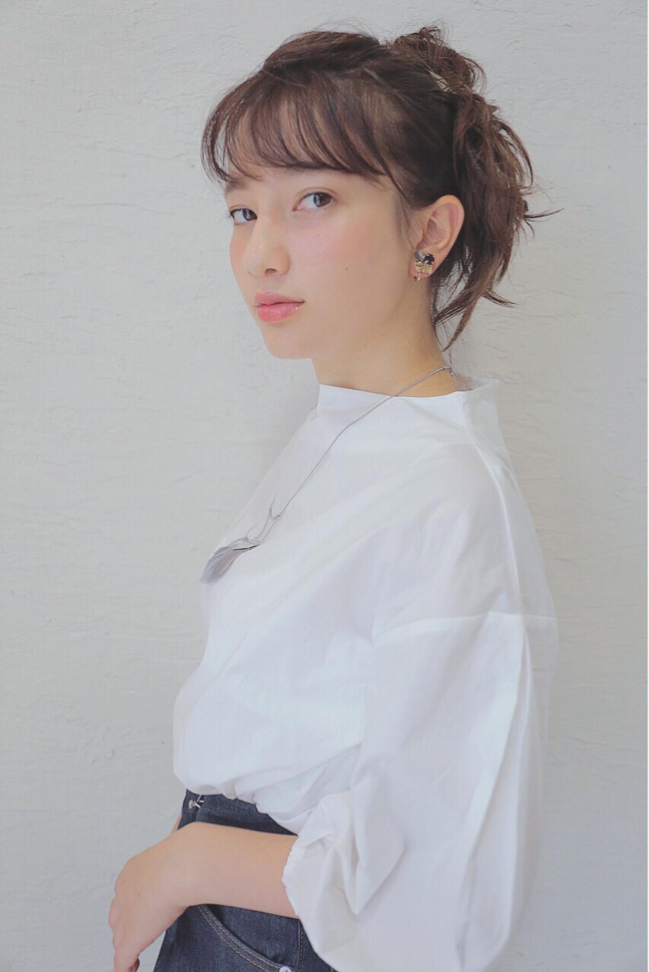 シースルーバング 簡単ヘアアレンジ 抜け感 アッシュ ヘアスタイルや髪型の写真・画像   原田直美 / grico