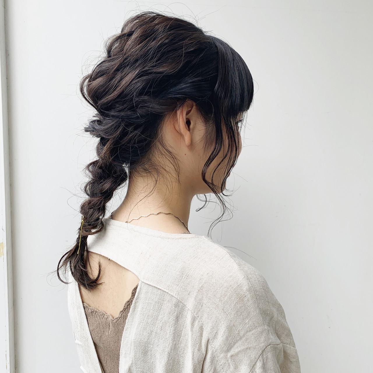 セミロング ガーリー ポニーテールアレンジ セルフヘアアレンジ ヘアスタイルや髪型の写真・画像 | 柴田泰志 / magnethairTrust