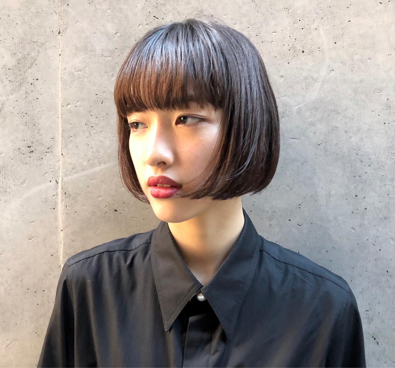 フェミニン ボブ 切りっぱなし モード ヘアスタイルや髪型の写真・画像 | MIKIZO / merci (メルシー)