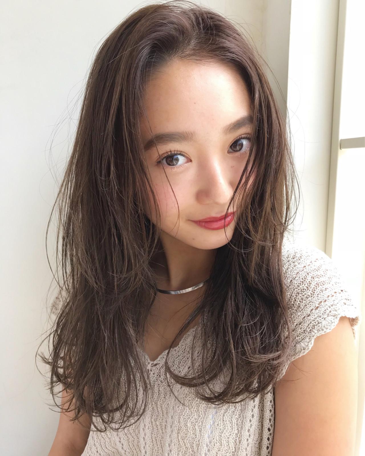 ベージュ 抜け感 ハイライト セミロング ヘアスタイルや髪型の写真・画像 | 伊藤愛子 GARDEN / GARDEN  omotesando