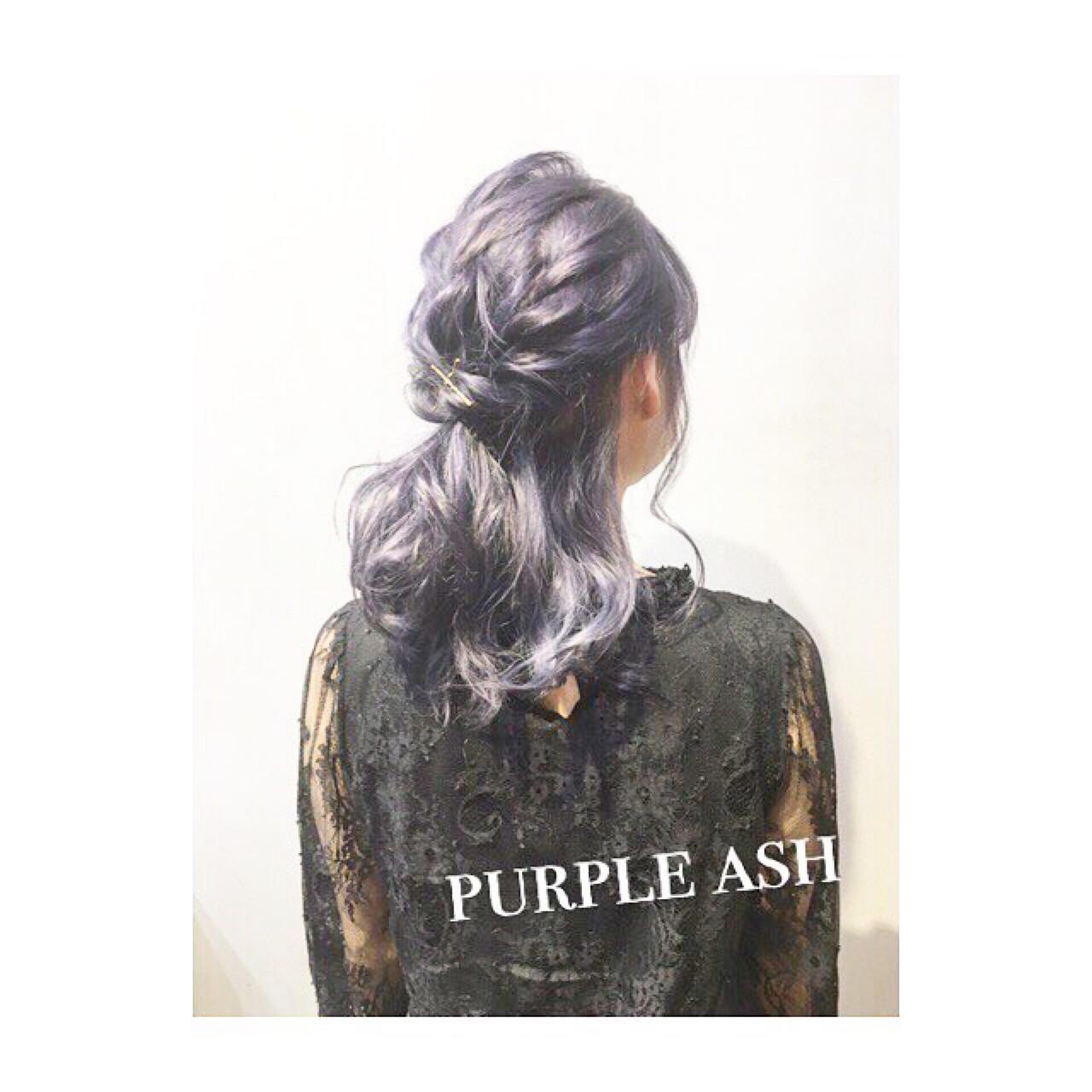 ブルージュ パープル ヘアアレンジ アッシュ ヘアスタイルや髪型の写真・画像 | COM PASS 太一 / COM PASS
