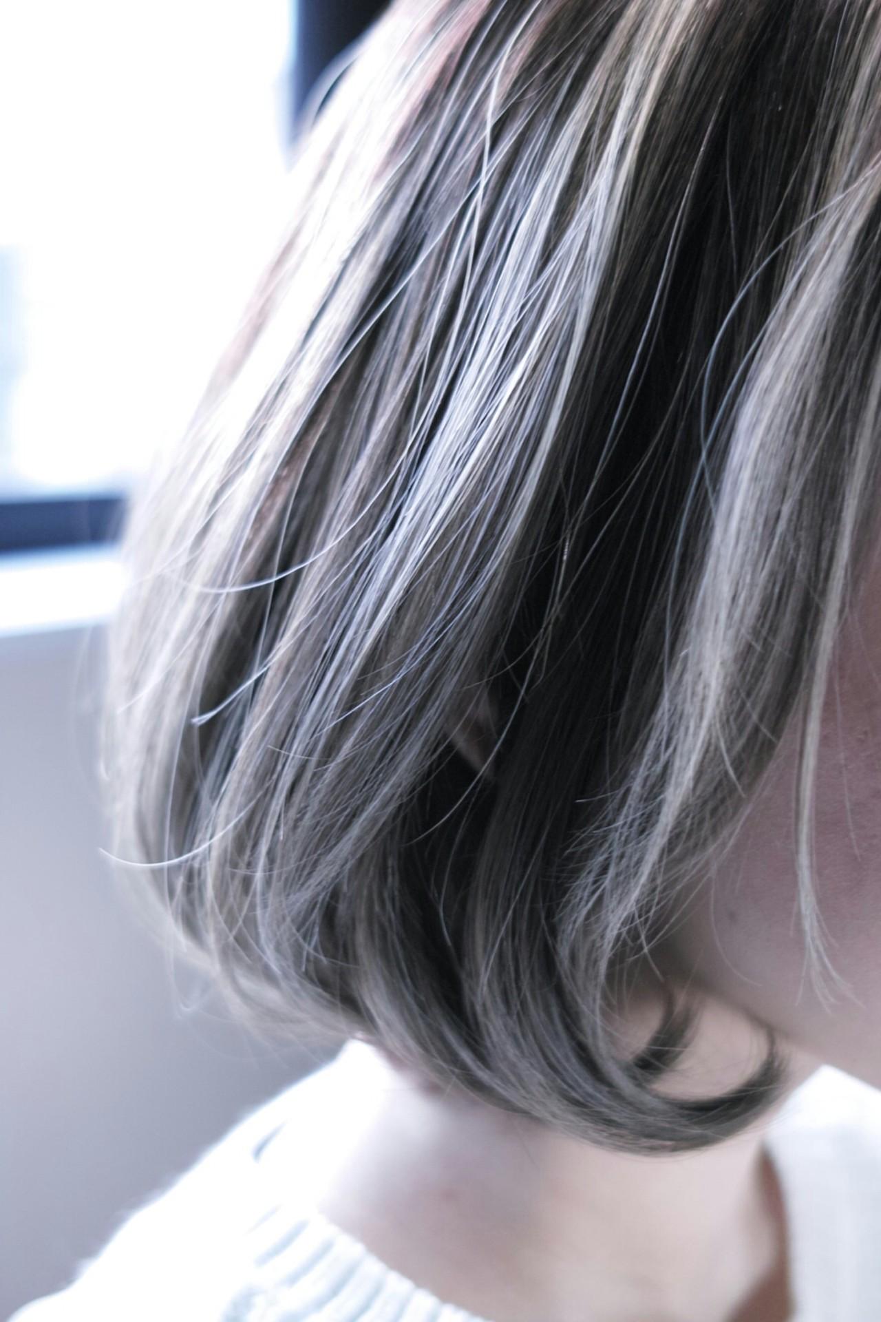 外国人風 ナチュラル ボブ ハイライトヘアスタイルや髪型の写真・画像