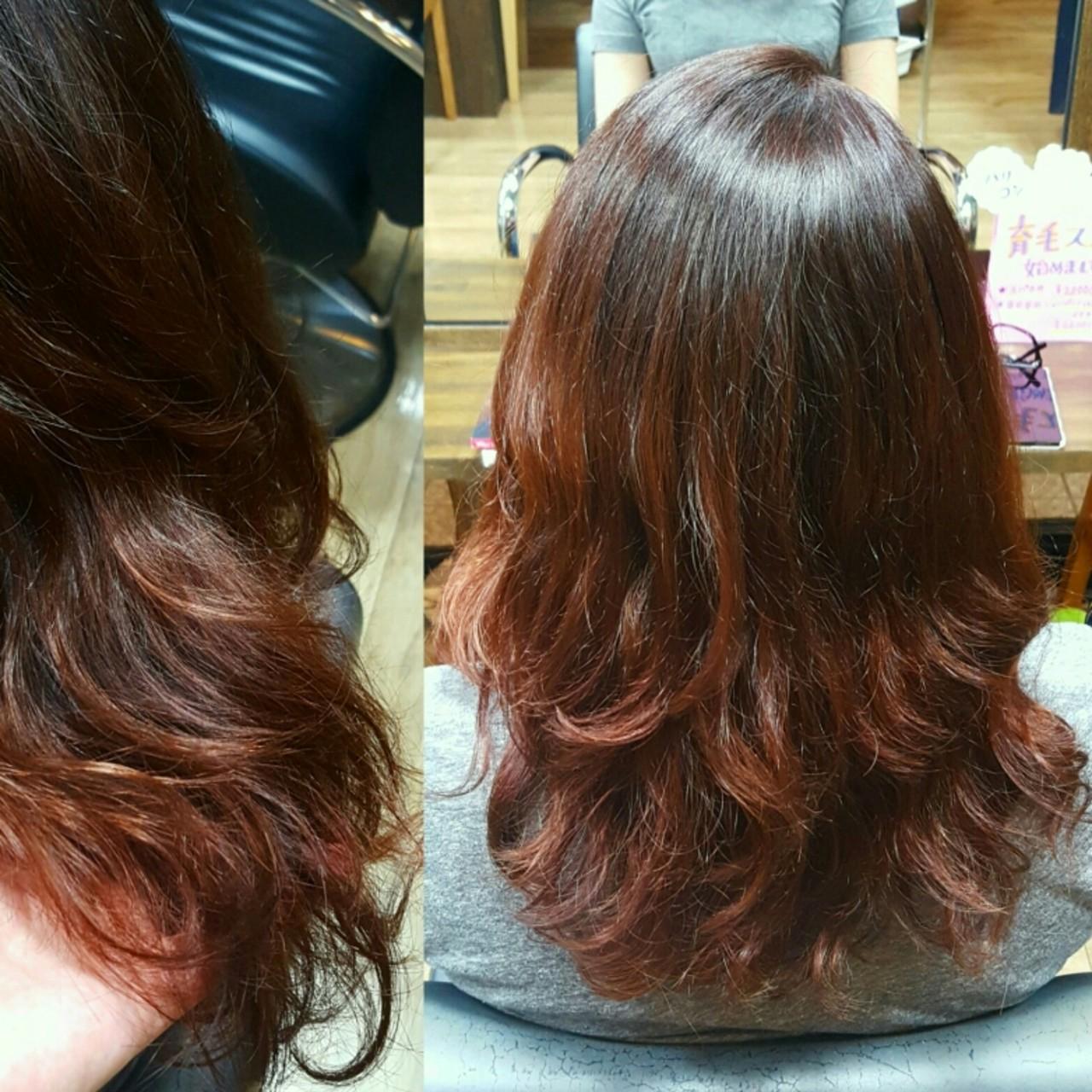 レッド ストリート 艶髪 くせ毛風ヘアスタイルや髪型の写真・画像
