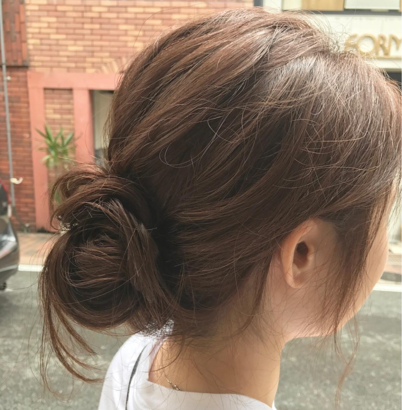 簡単ヘアアレンジ ベージュ ヘアアレンジ シニヨン ヘアスタイルや髪型の写真・画像 | 桝田 由佳 / フリーランスでしてます!お電話のご予約不可です