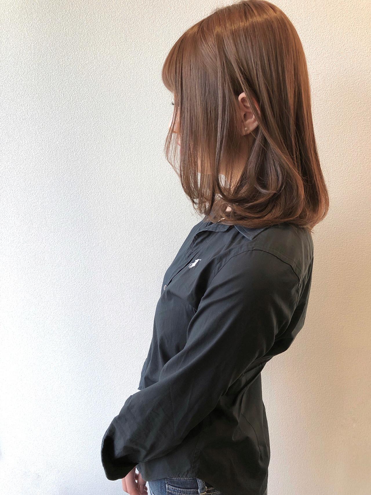 ベージュ アッシュベージュ 秋冬スタイル ミディアム ヘアスタイルや髪型の写真・画像 | 田中 祐樹 / Tribute Hair&Nail