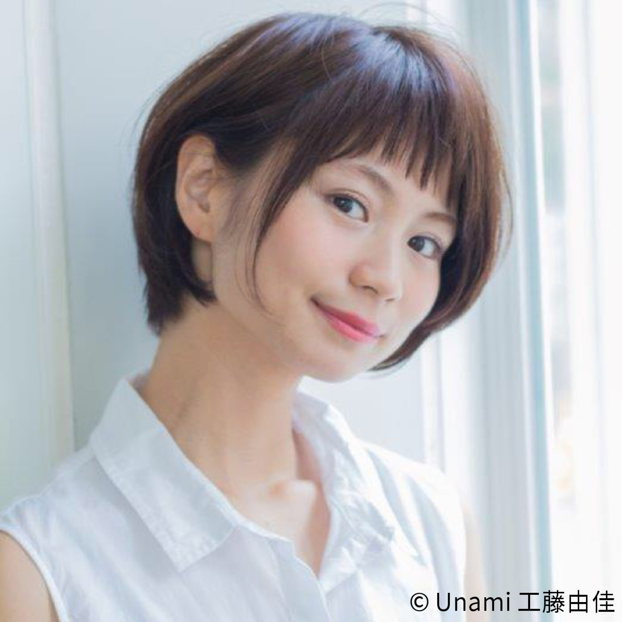 ナチュラル ボブ 斜め前髪 ショート ヘアスタイルや髪型の写真・画像 | Unami 工藤由佳 / Unami omotesando