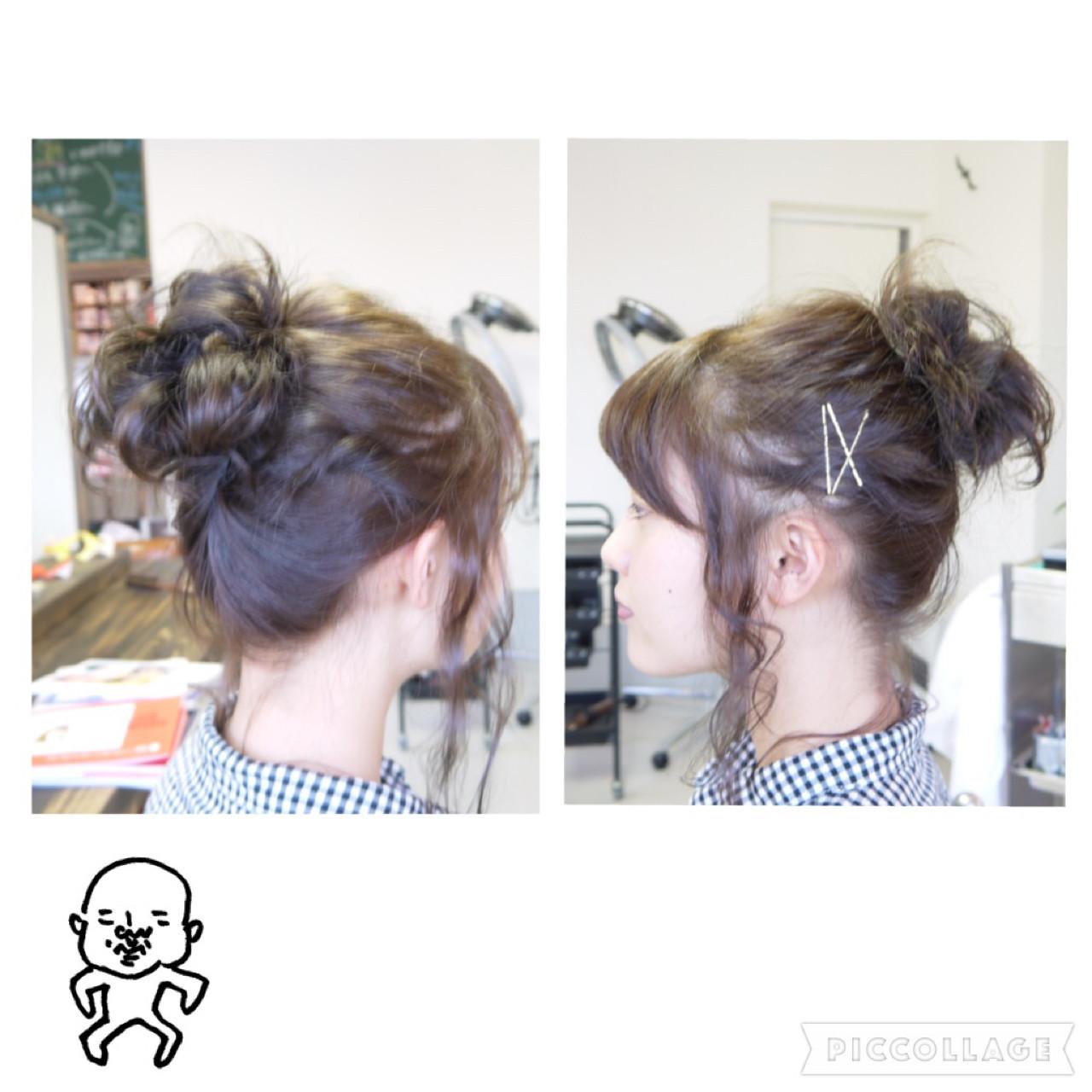 ヘアアレンジ ミディアム メッシーバン 簡単ヘアアレンジ ヘアスタイルや髪型の写真・画像 | iwamoto atsushi / kamome. / カモメ美容室