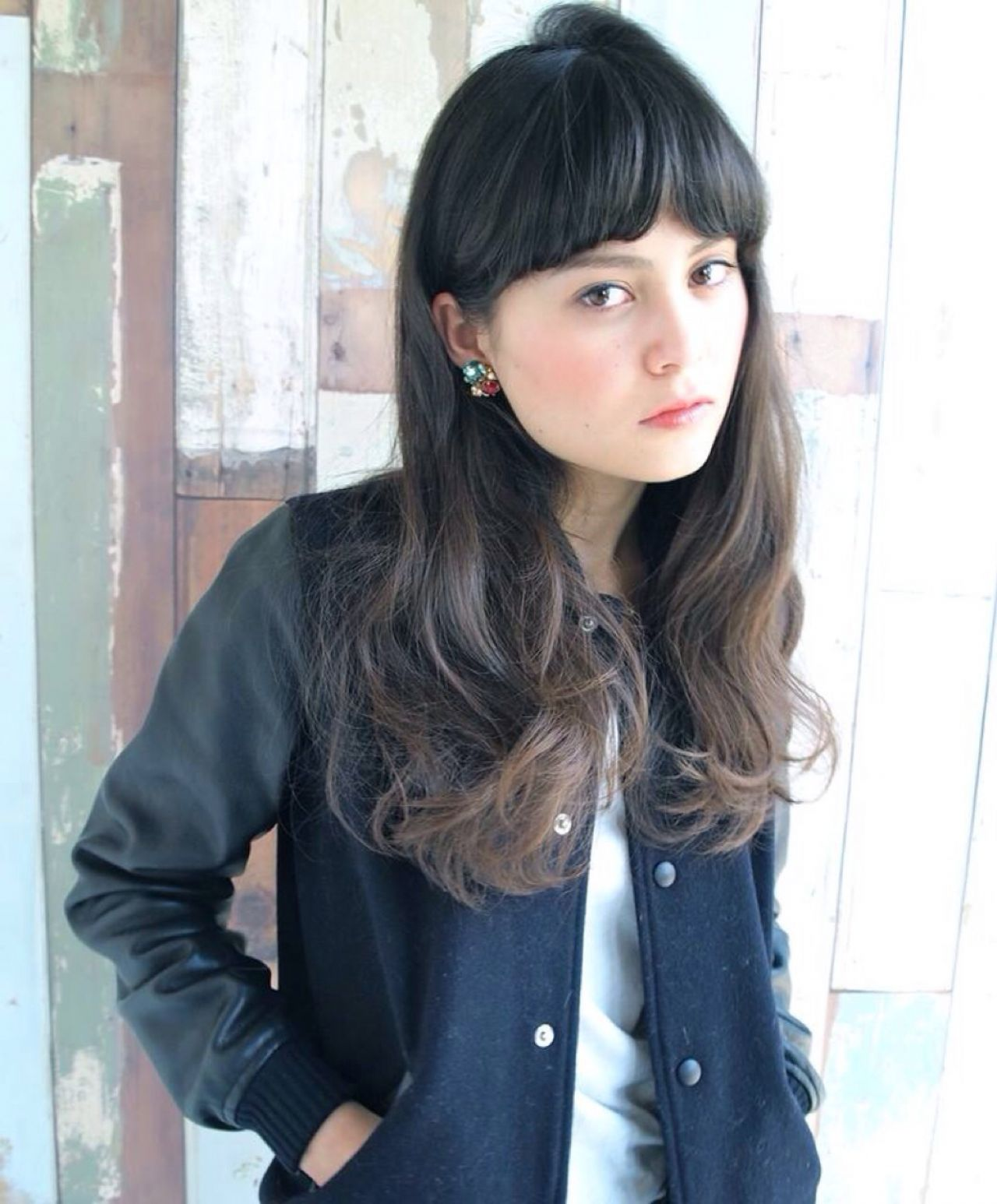 グラデーションカラー ストリート セミロング 外国人風ヘアスタイルや髪型の写真・画像