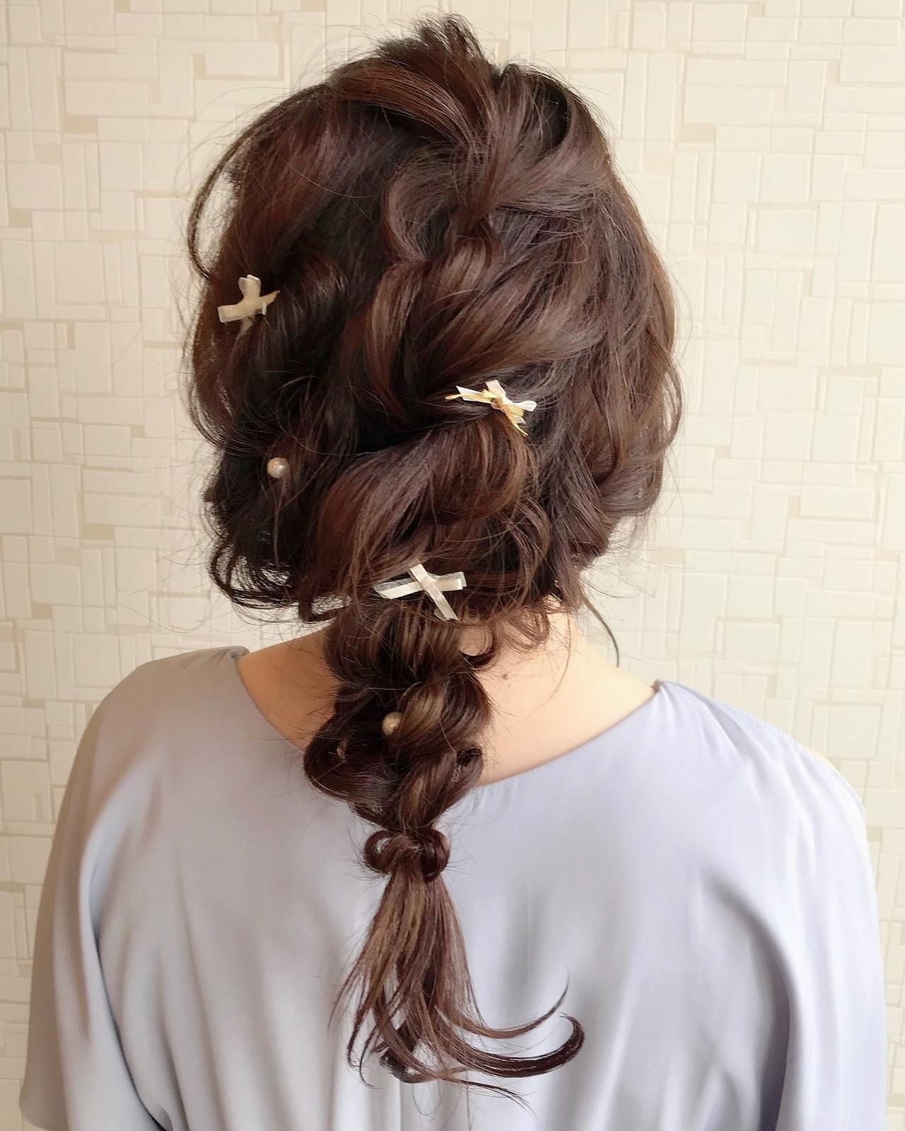 ヘアアレンジ セミロング 編みおろし 編みおろしヘアヘアスタイルや髪型の写真・画像