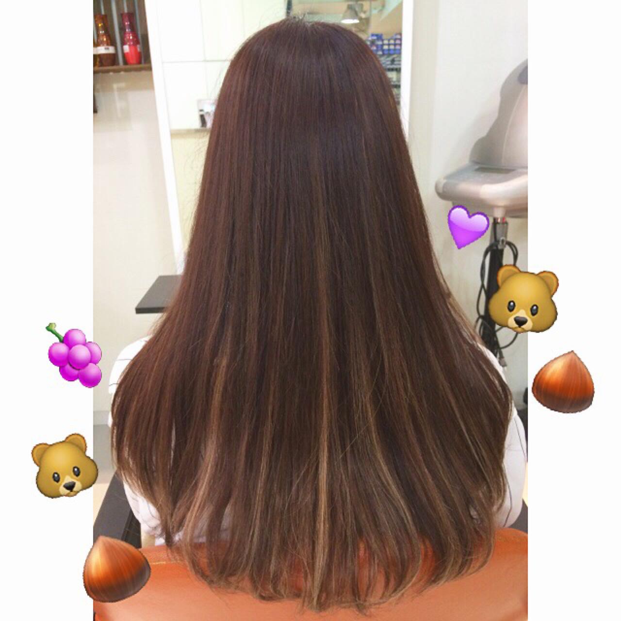 ハイライト ロング 暗髪 秋ヘアスタイルや髪型の写真・画像