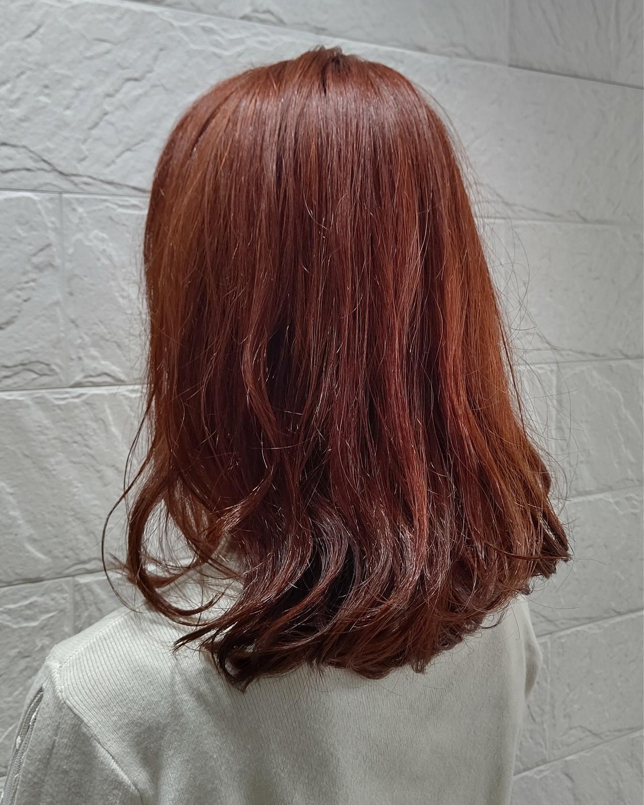 オレンジカラー ノーブリーチ アプリコットオレンジ かわいいヘアスタイルや髪型の写真・画像