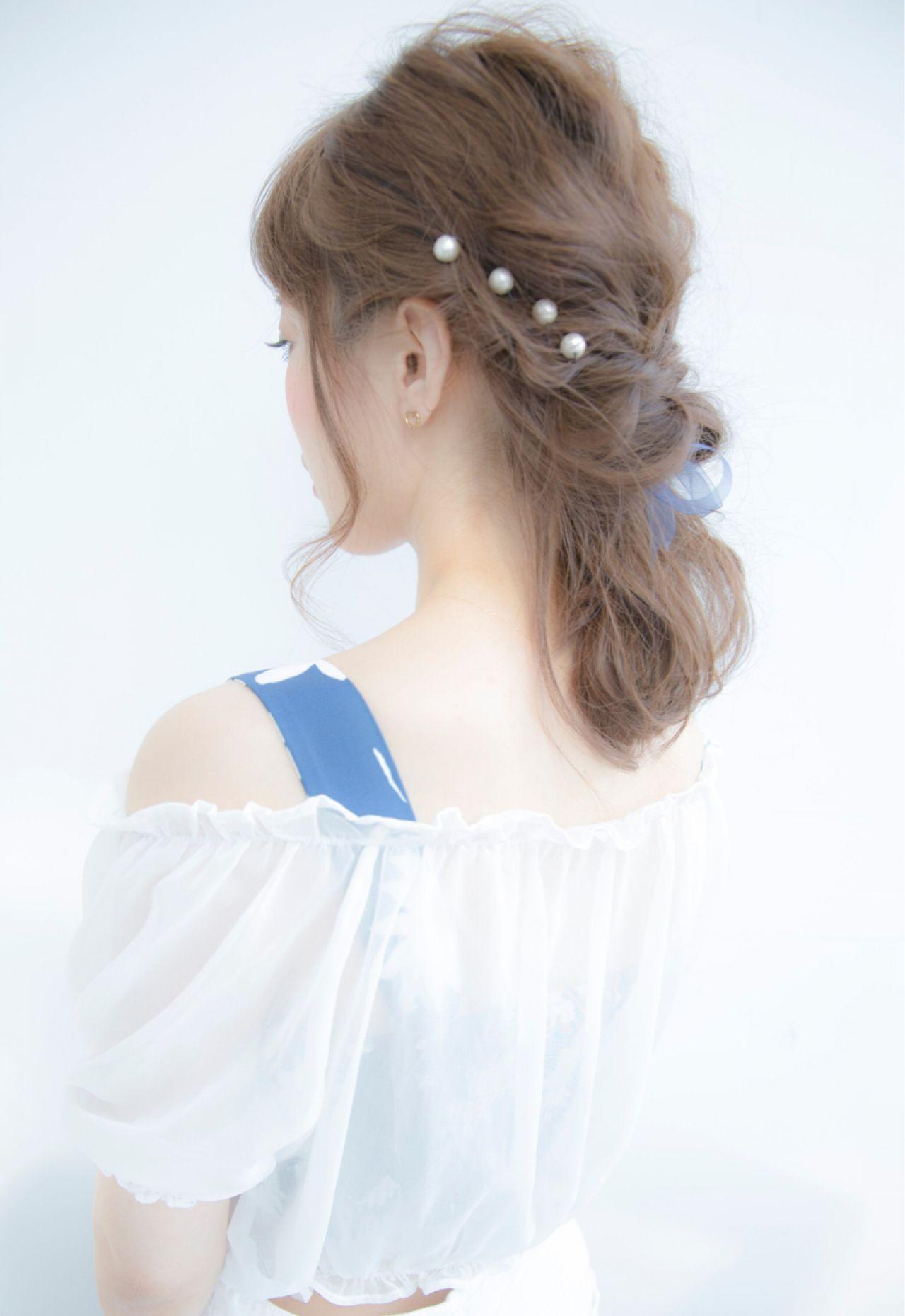 ヘアピン 波ウェーブ ロング 簡単ヘアアレンジ ヘアスタイルや髪型の写真・画像 | NARUOKA / Veil ヴェール