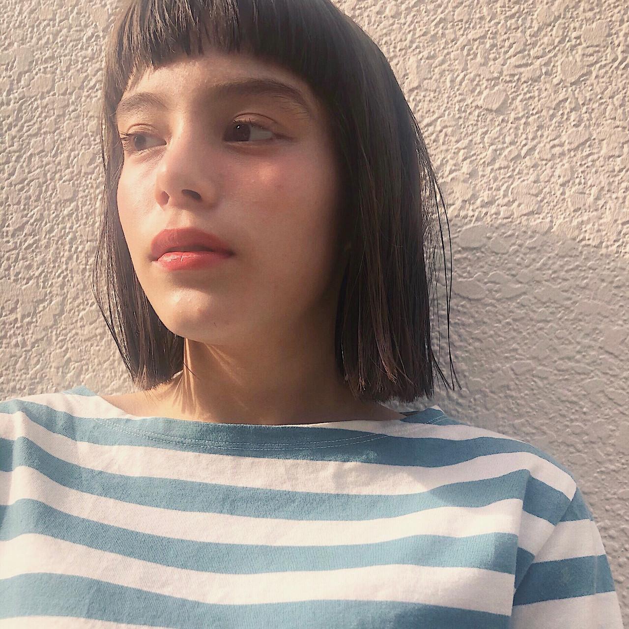切りっぱなしボブ 透明感カラー ボブ グレージュ ヘアスタイルや髪型の写真・画像 | 波多野萌絵 / Belle