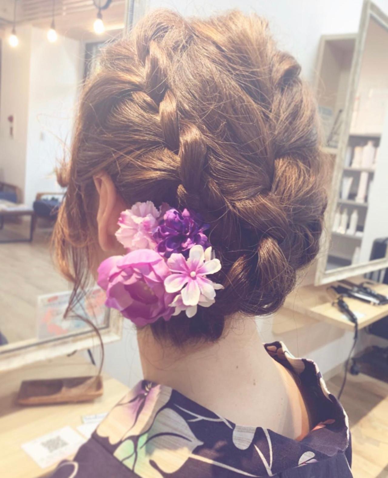 フェミニン ミディアム 大人アレンジ 浴衣アレンジ ヘアスタイルや髪型の写真・画像 | 寺島孝夫 / Lea hair&nail