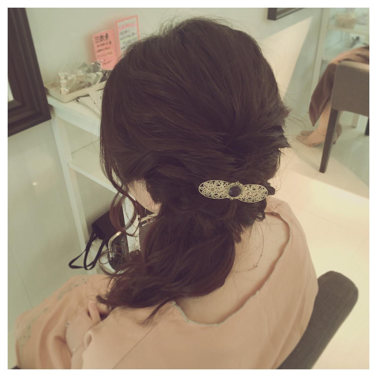 サイドアップ ショート くるりんぱ 簡単ヘアアレンジ ヘアスタイルや髪型の写真・画像 | *hamai* / フリー