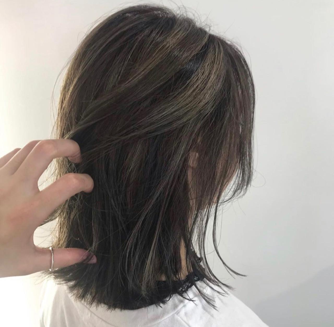 3Dハイライト ベージュ 外ハネボブ ナチュラル ヘアスタイルや髪型の写真・画像 | 石渡諒太 / Alan Smithee
