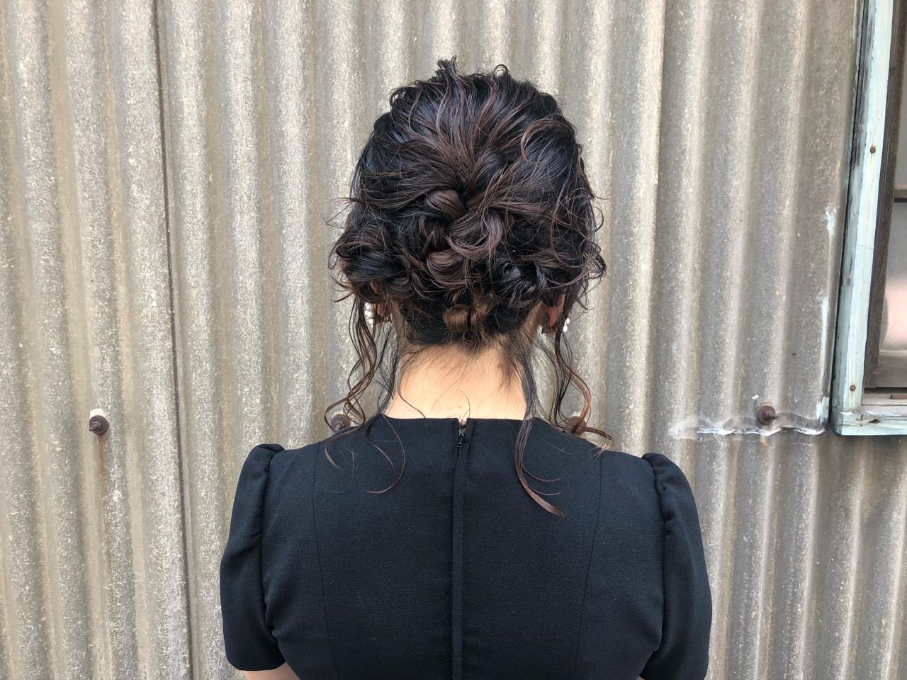 ガーリー 二次会 セミロング ヘアアレンジ ヘアスタイルや髪型の写真・画像 | 藤田成美 / bado