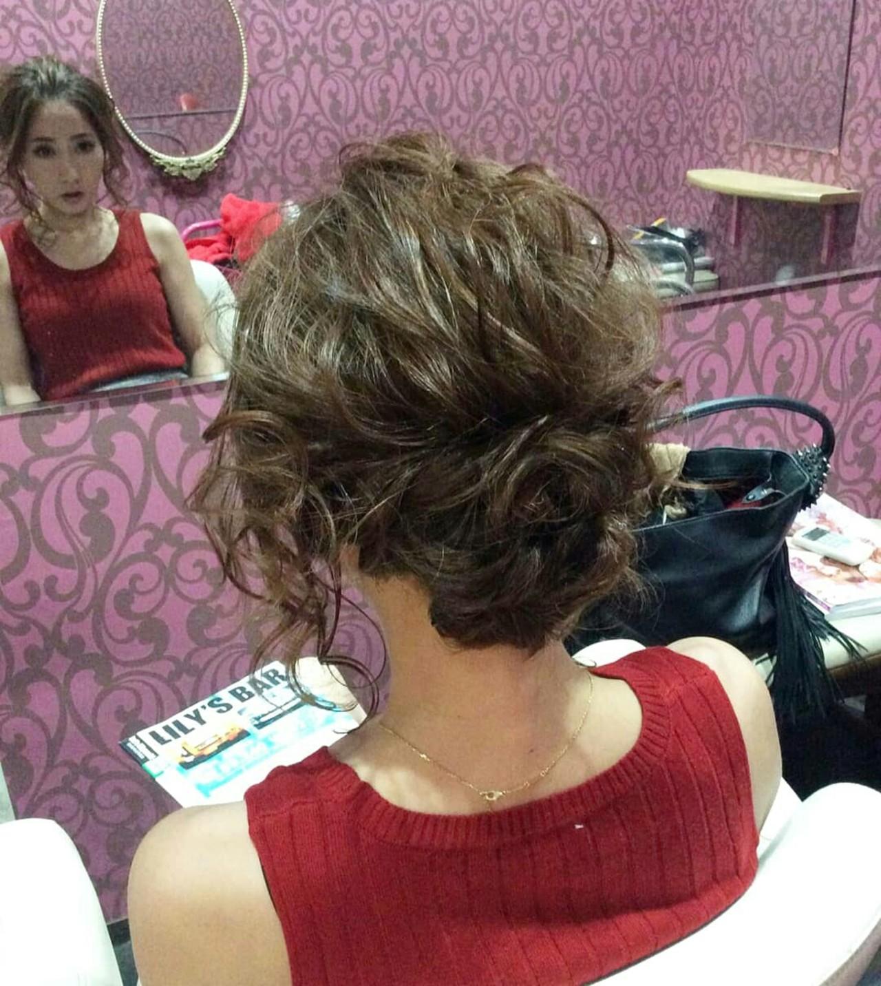 編み込み ミディアム ヘアアレンジ ポンパドール ヘアスタイルや髪型の写真・画像   rumiLINKS美容室 / リンクス美容室