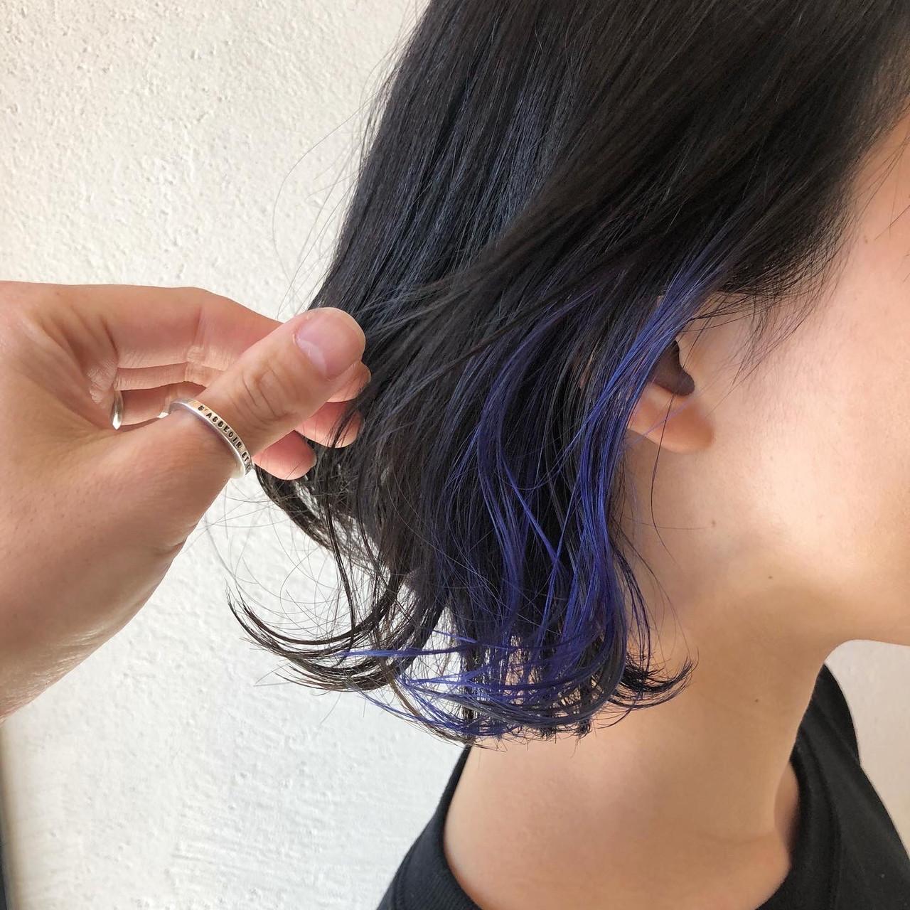 ネイビーブルー ネイビー ボブ モードヘアスタイルや髪型の写真・画像