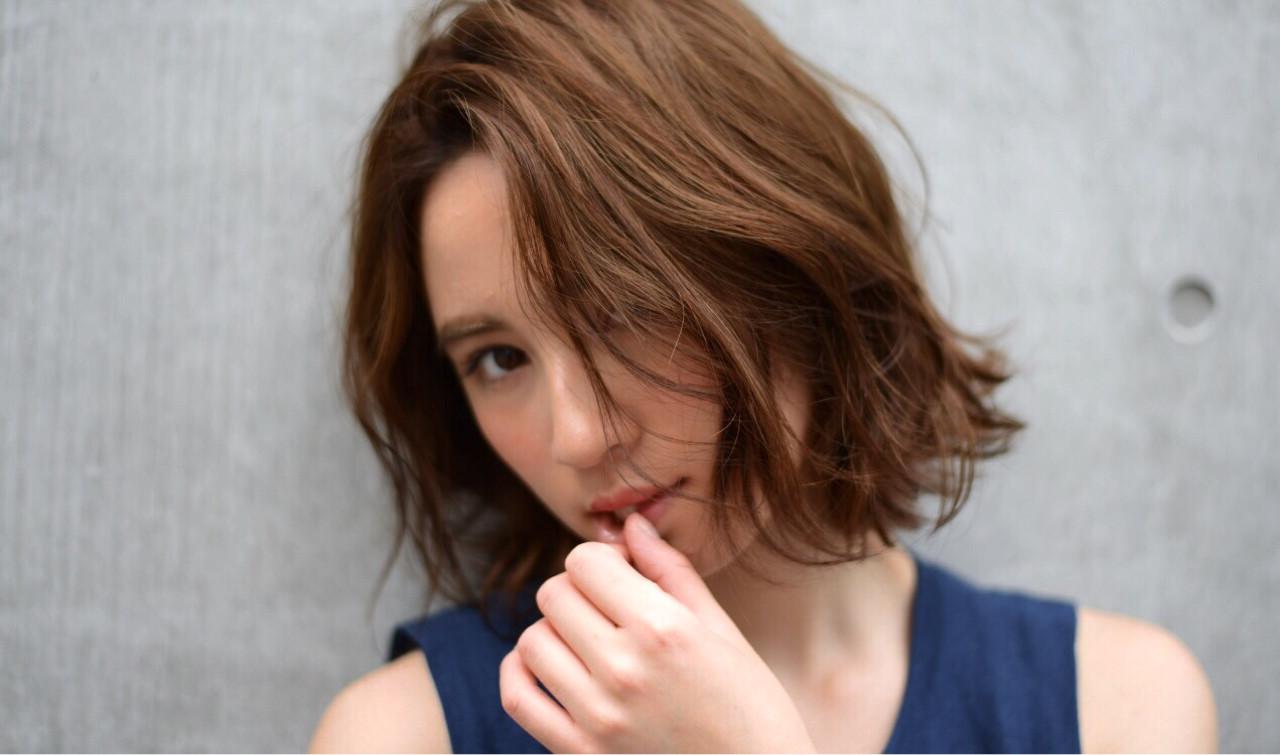 ウェットヘア ボブ 抜け感 くせ毛風 ヘアスタイルや髪型の写真・画像 | 矢沢和也 / MAKE'S