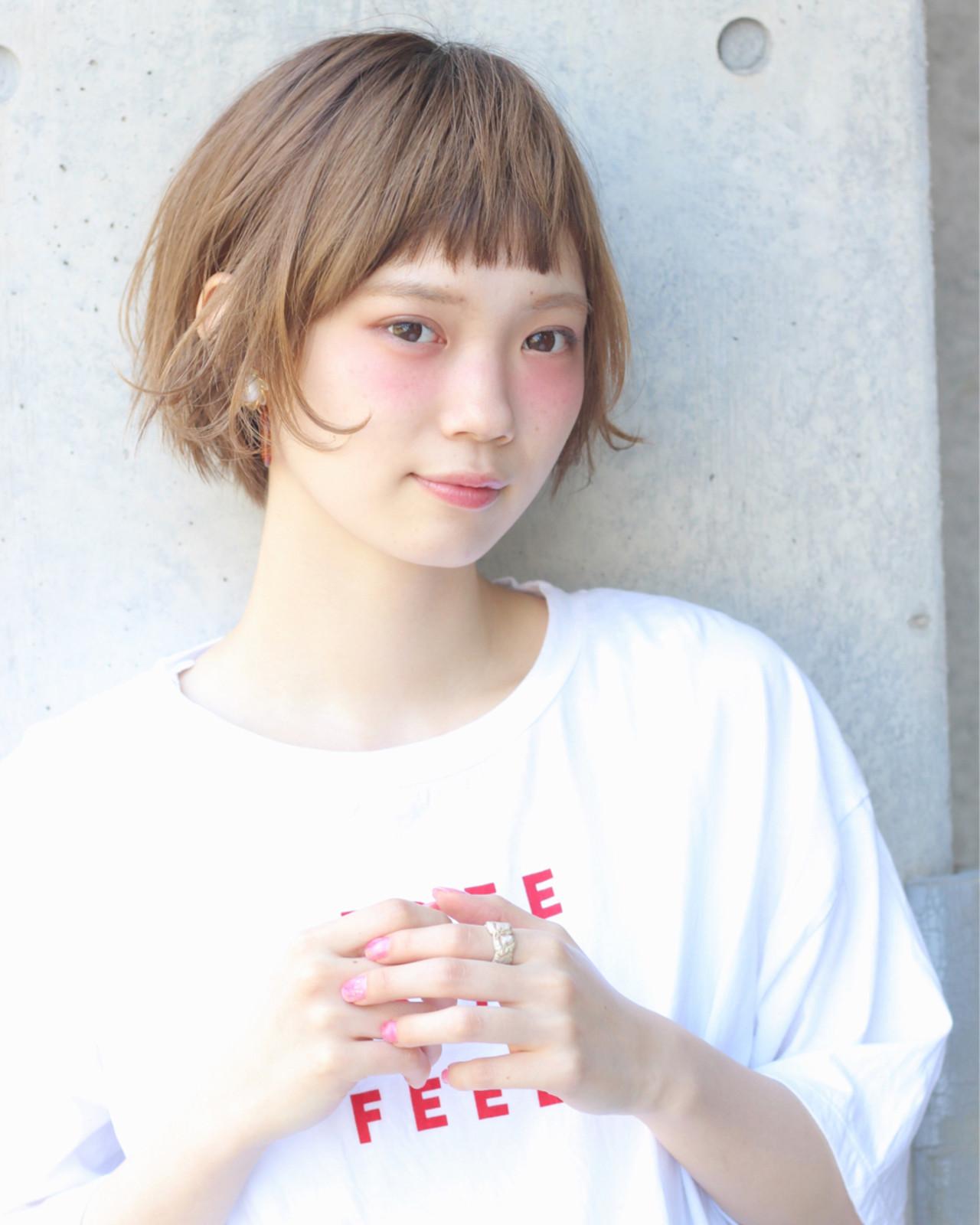 ショートボブ ミルクティーベージュ マッシュ ショートヘアスタイルや髪型の写真・画像