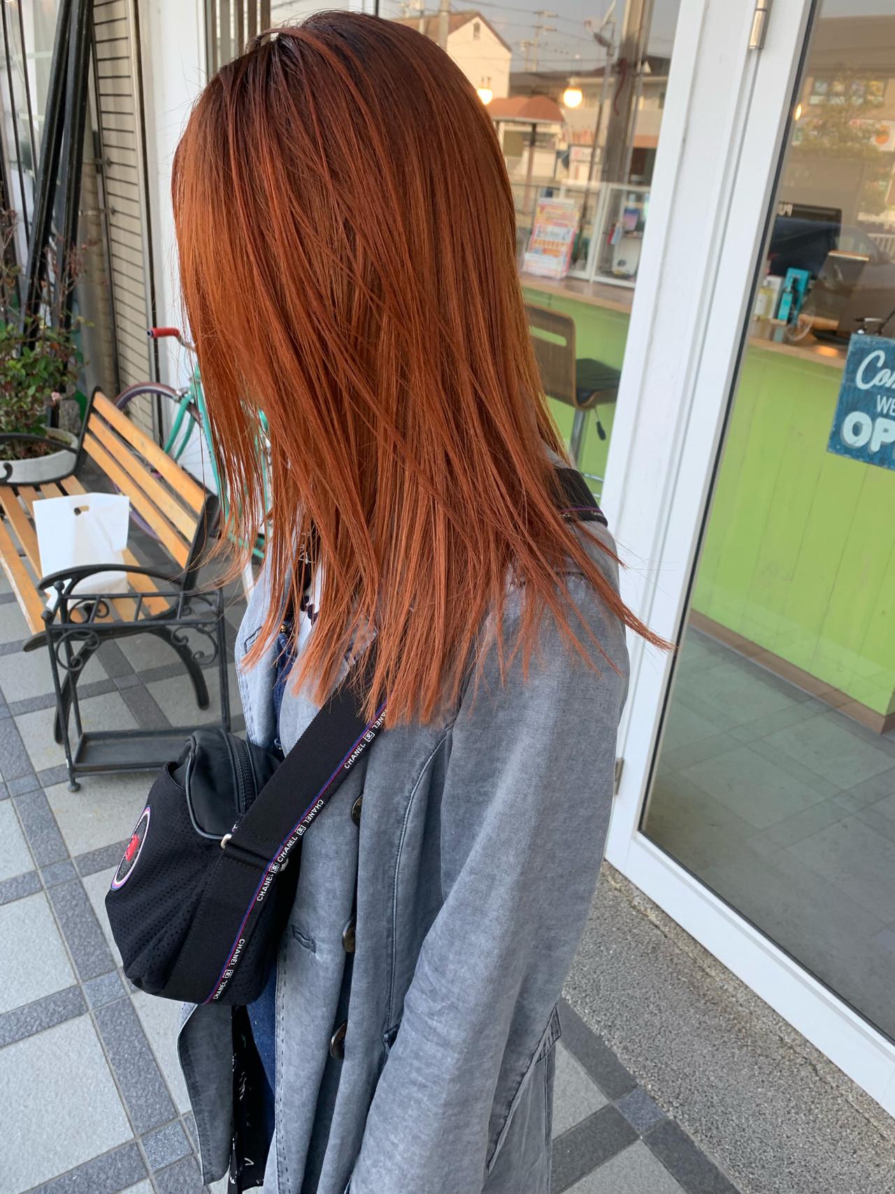 ストリート 切りっぱなしボブ オレンジ ダブルカラー ヘアスタイルや髪型の写真・画像 | sowi 阿部 辰也 / sowi hair design ソーイ