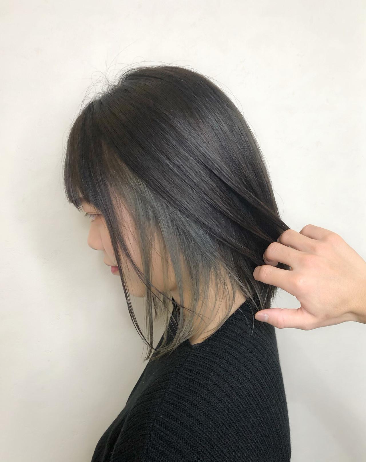 デート 成人式 ボブ インナーカラーヘアスタイルや髪型の写真・画像